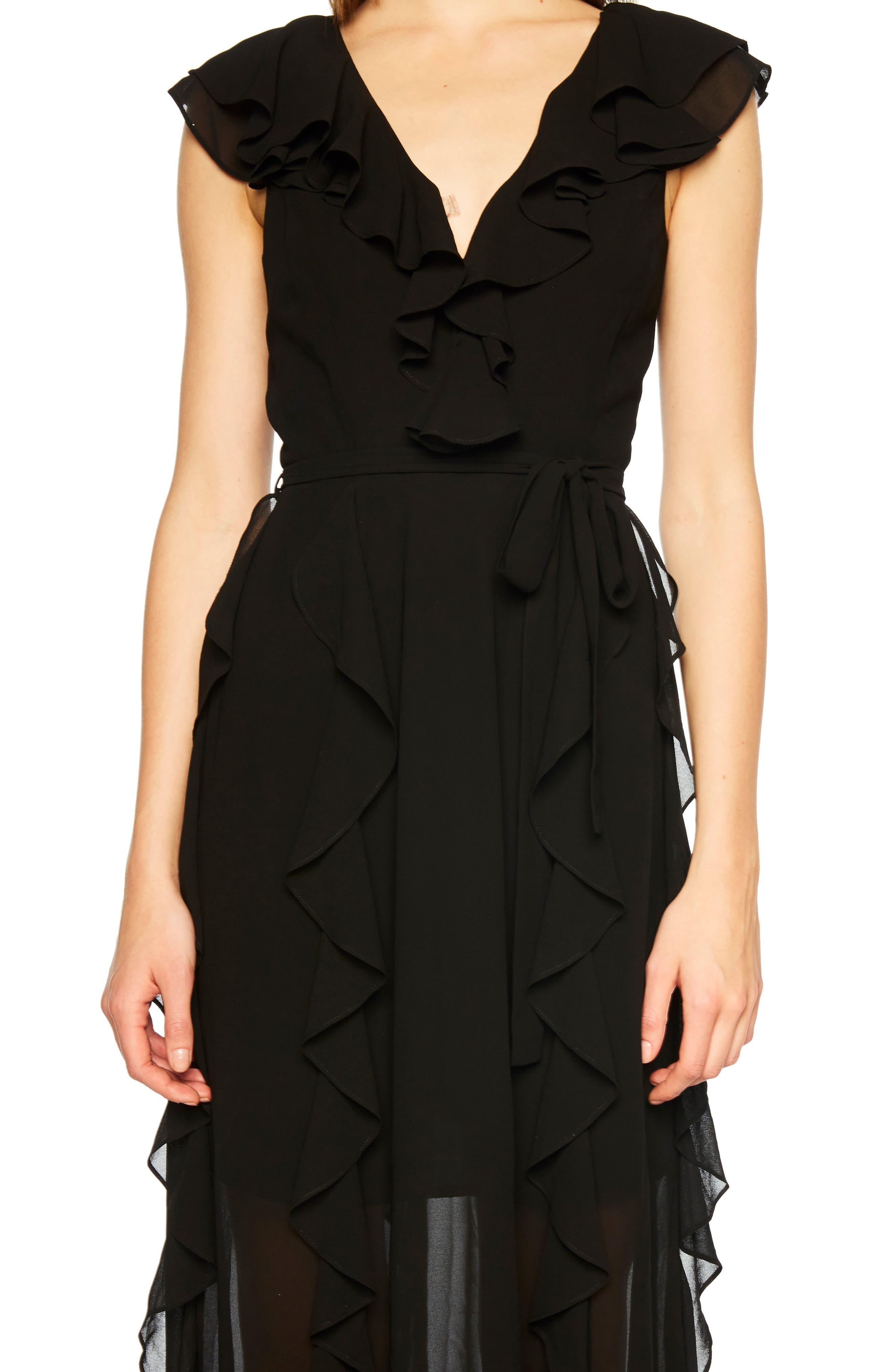 Emily Frill Maxi Dress,                             Alternate thumbnail 4, color,                             BLACK