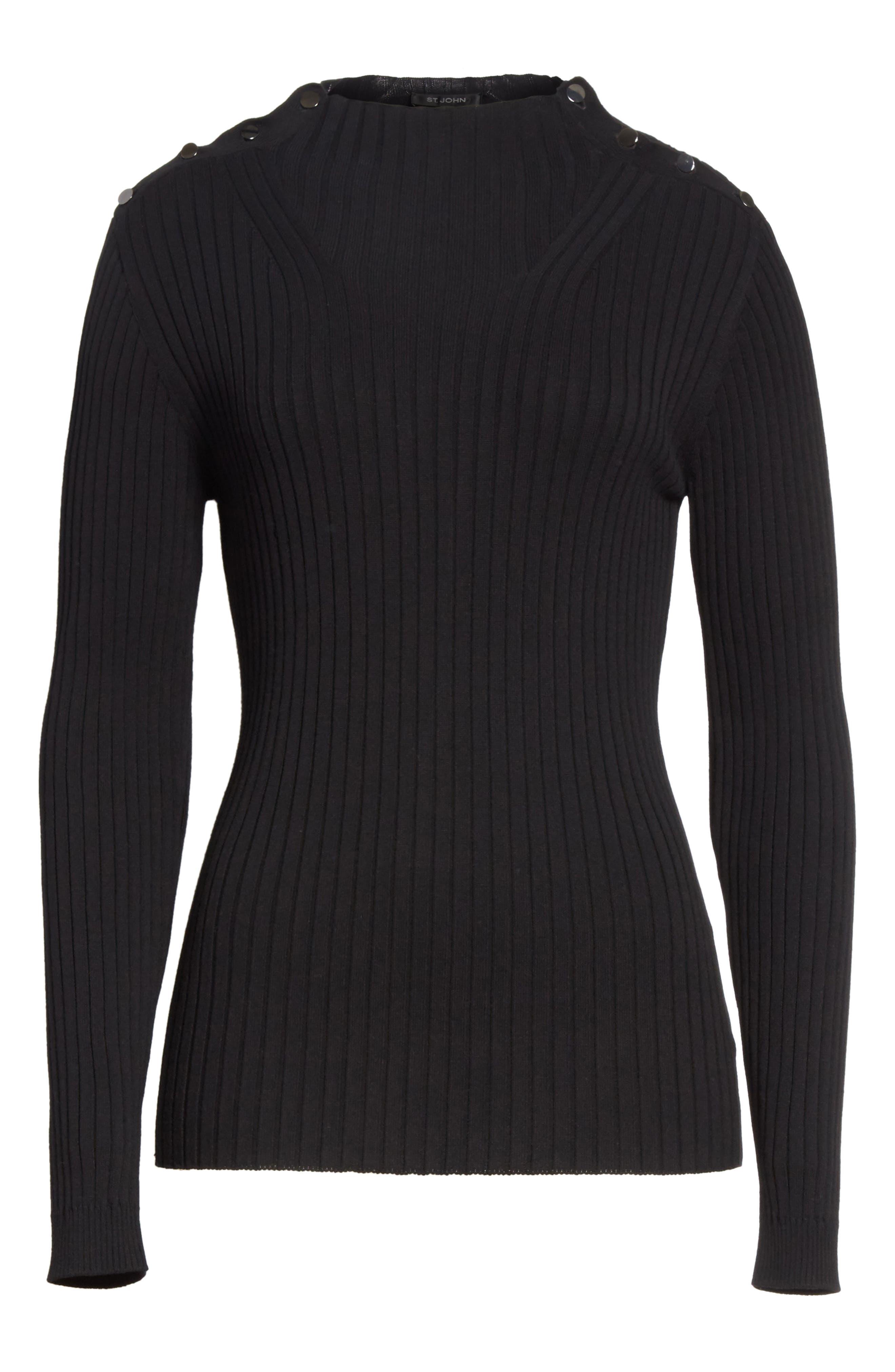 Flat Rib Knit Mock Neck Sweater,                             Alternate thumbnail 6, color,                             001