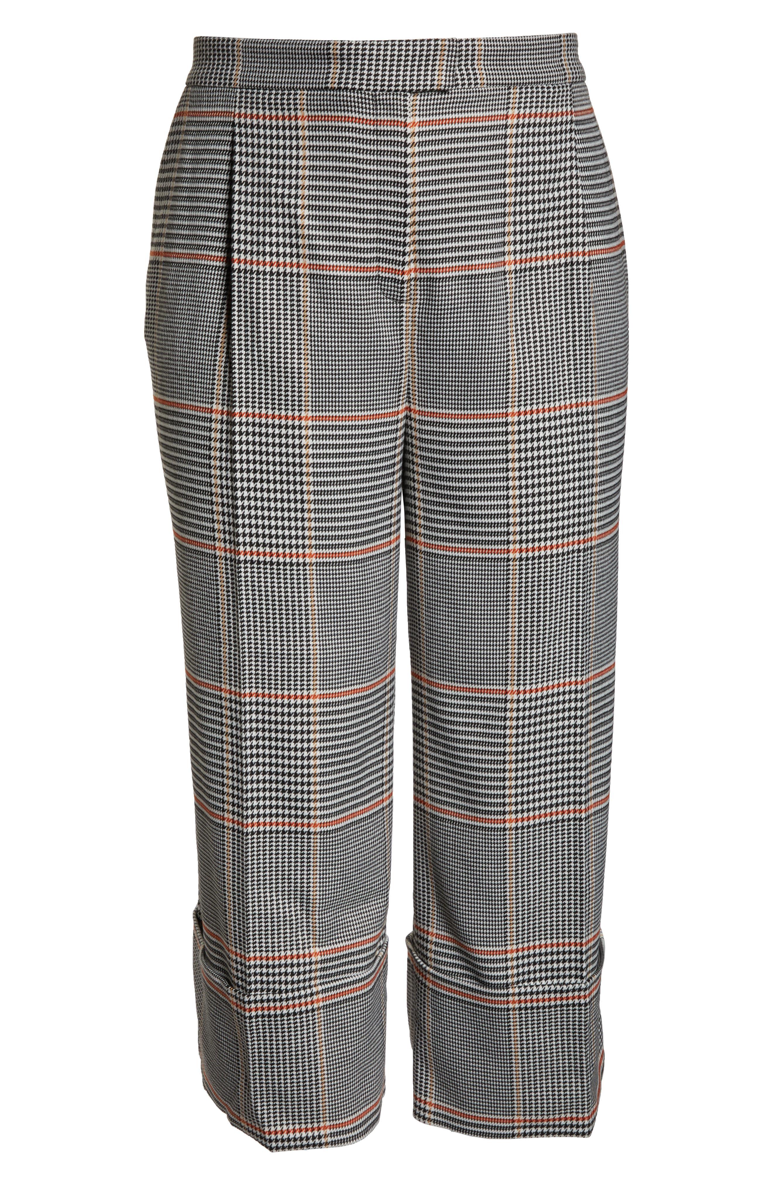 x Atlantic-Pacific Plaid Wide Leg Crop Pants,                             Alternate thumbnail 7, color,                             BLACK PLAID