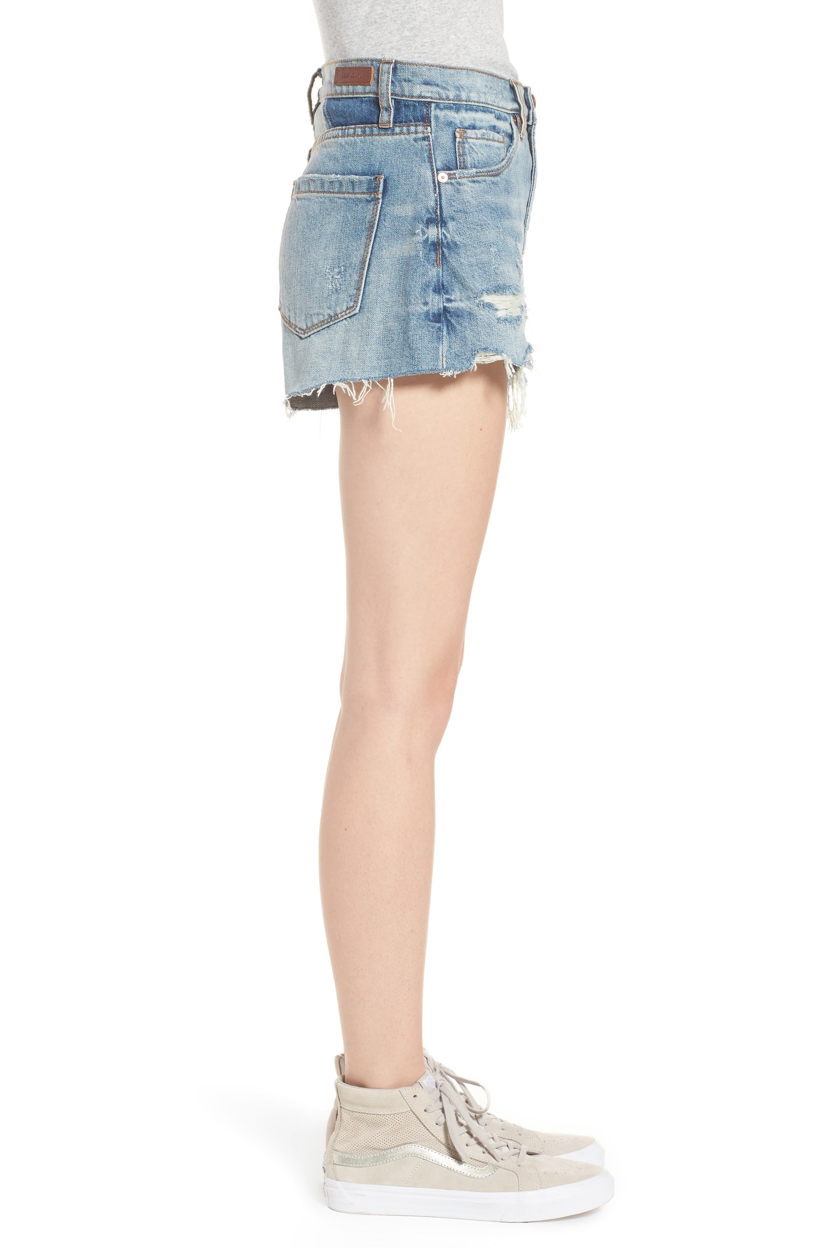 Panic Prevention Ripped Cutoff Denim Shorts,                             Alternate thumbnail 3, color,                             400