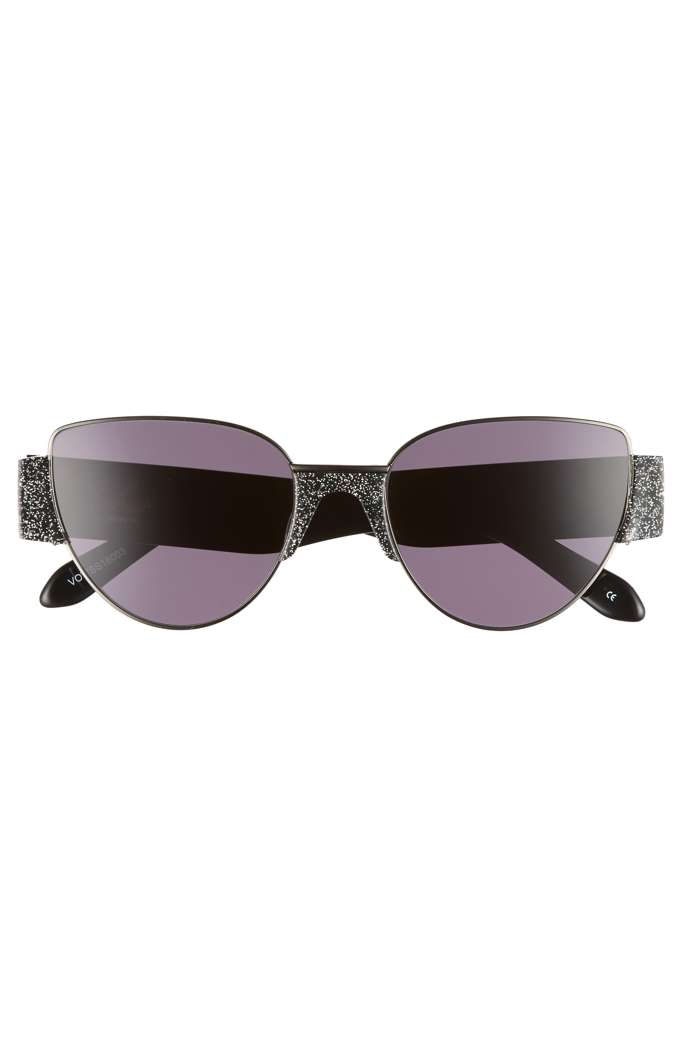 Dahlia 55mm Cat Eye Sunglasses,                             Alternate thumbnail 3, color,                             MULTI GLITTER/ GUNMETAL/ SMOKE