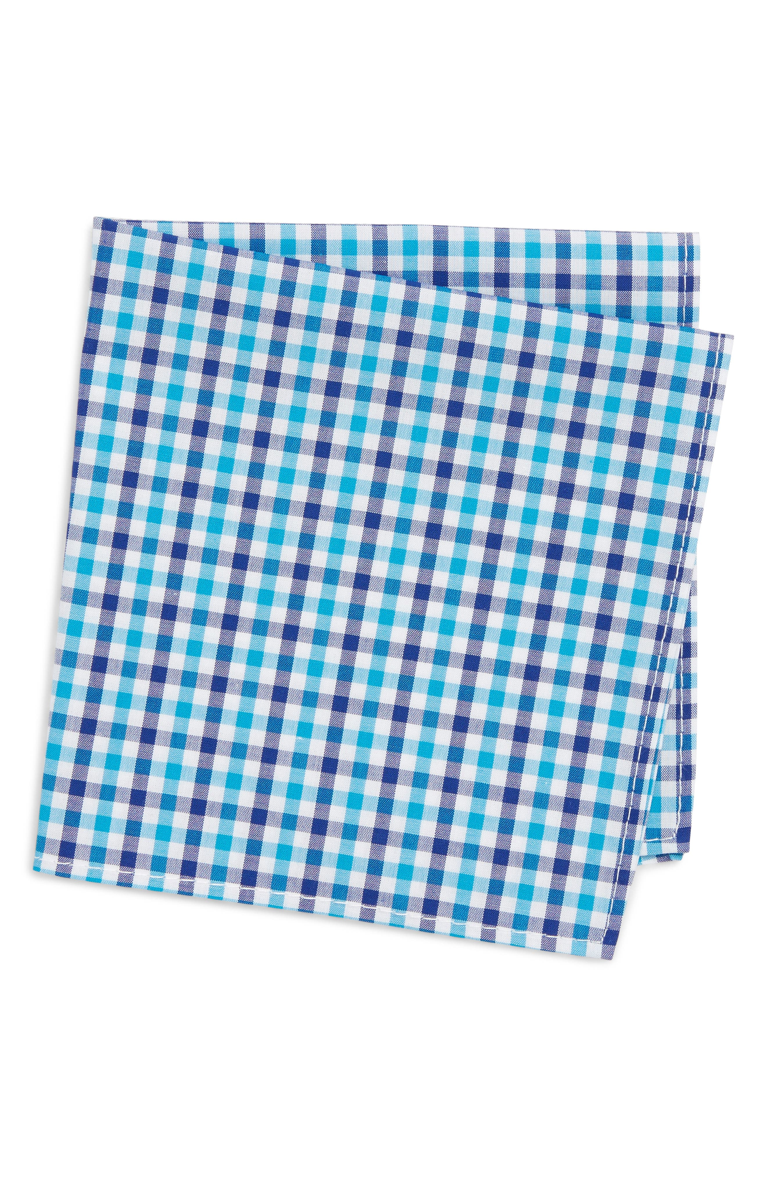 Gingham Pocket Square,                         Main,                         color, TURQUOISE