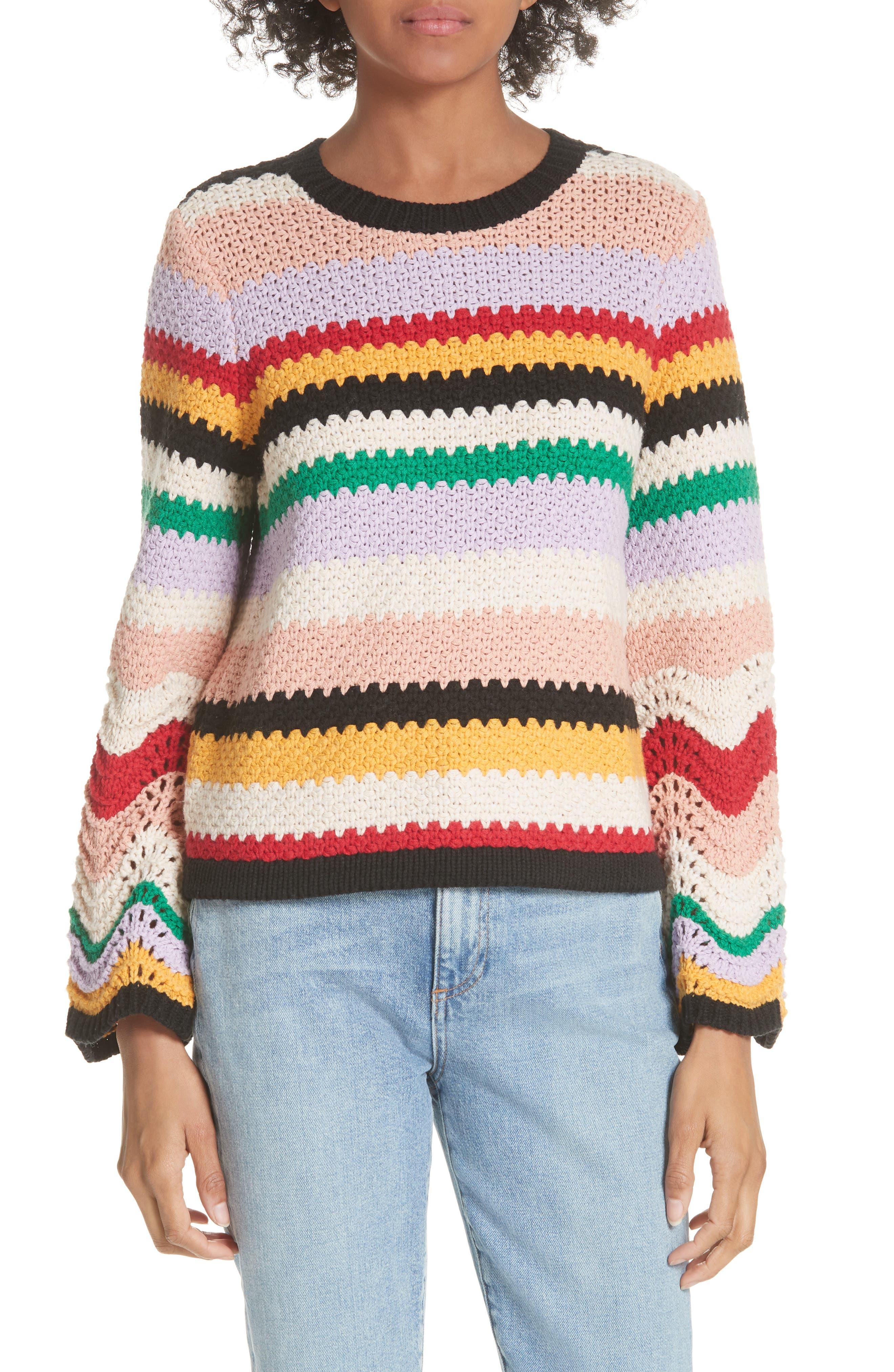 Alivia Stripe Bell Sleeve Cotton Blend Sweater,                             Main thumbnail 1, color,                             MULTI