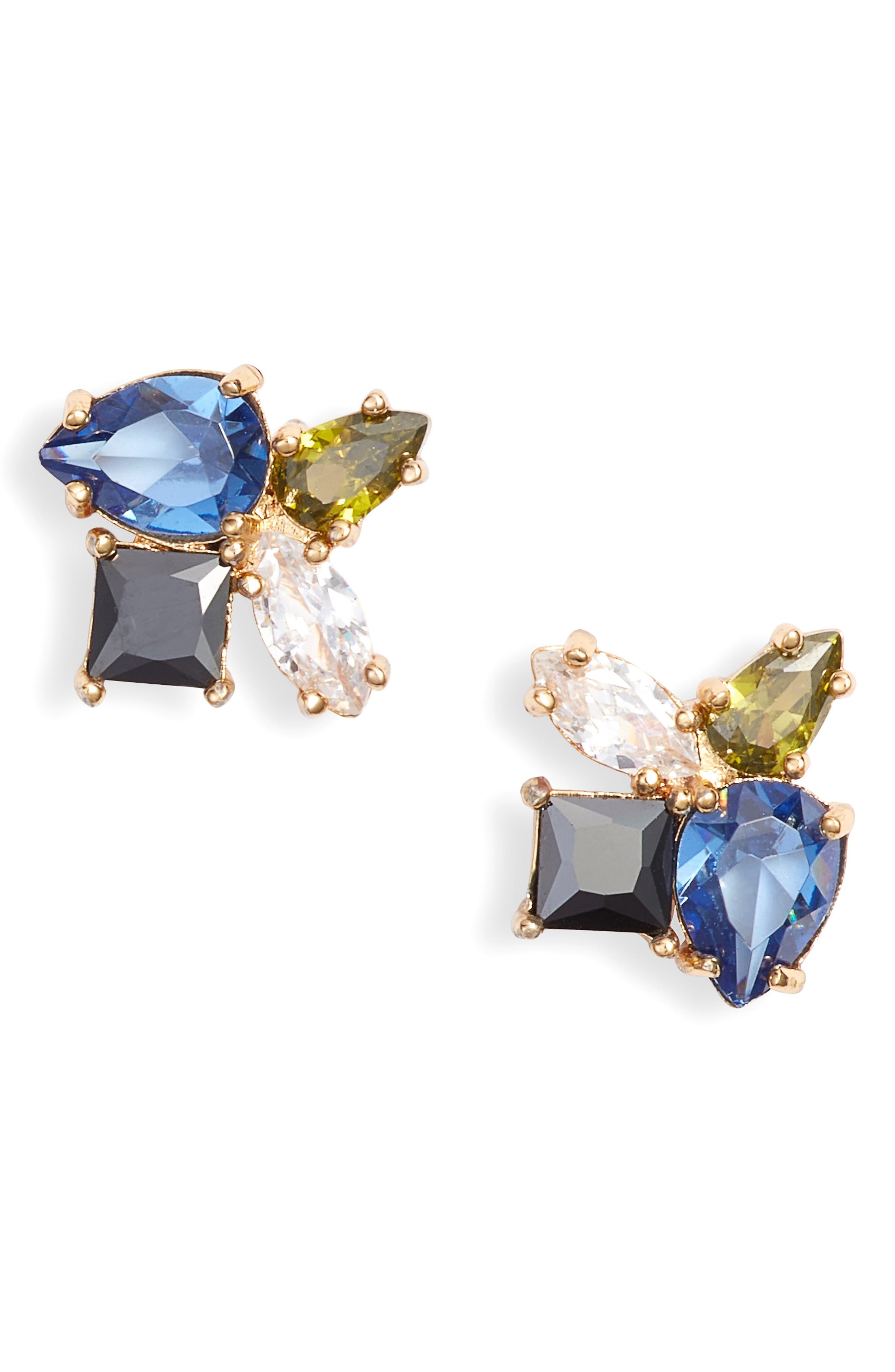flying color cluster stud earrings,                         Main,                         color, BLUE MULTI