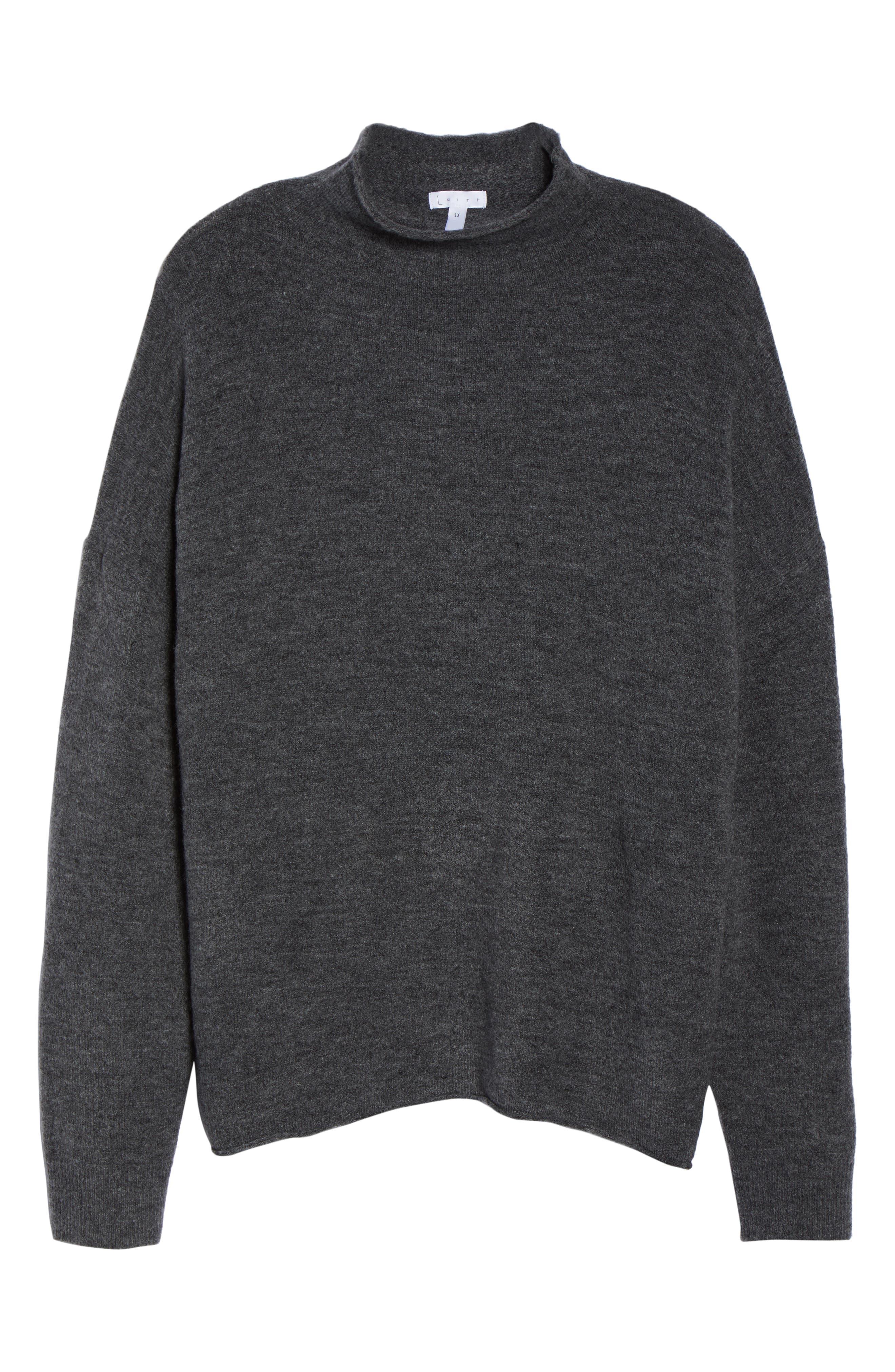Cozy Mock Neck Sweater,                             Alternate thumbnail 10, color,                             GREY MEDIUM CHARCOAL HEATHER
