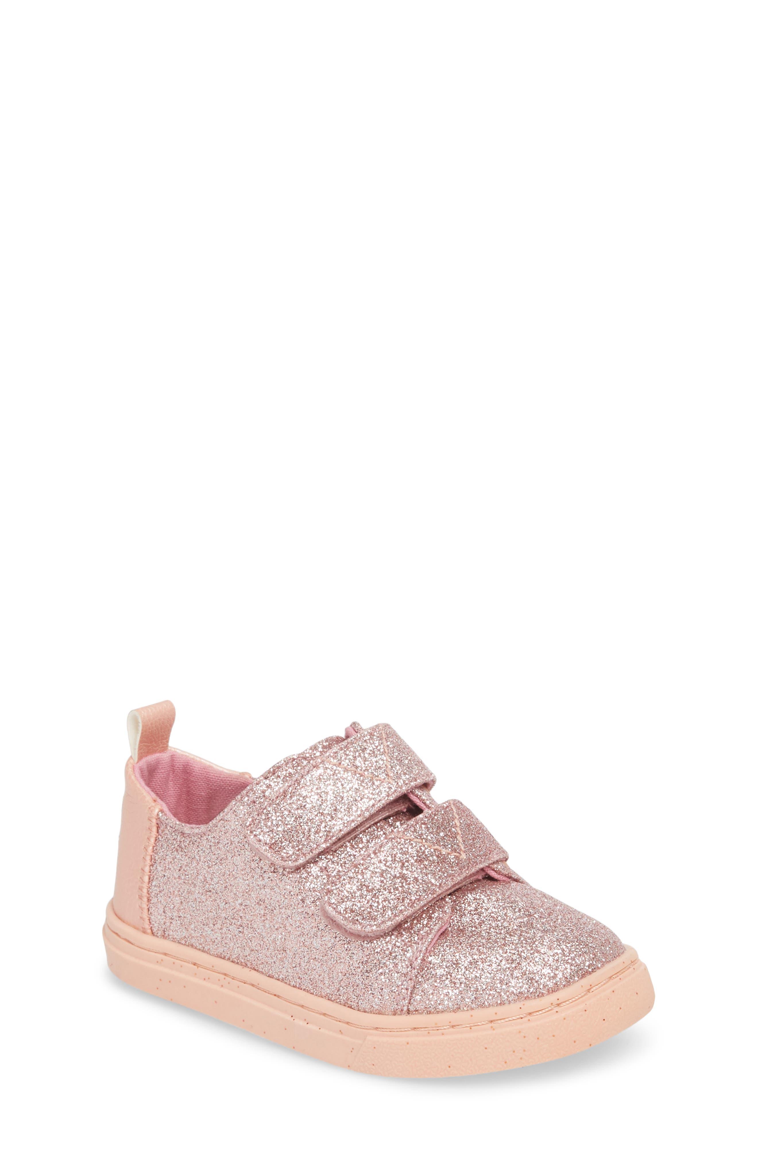 Lenny Metallic Glitter Sneaker,                             Main thumbnail 1, color,                             ROSE GOLD GLITTER