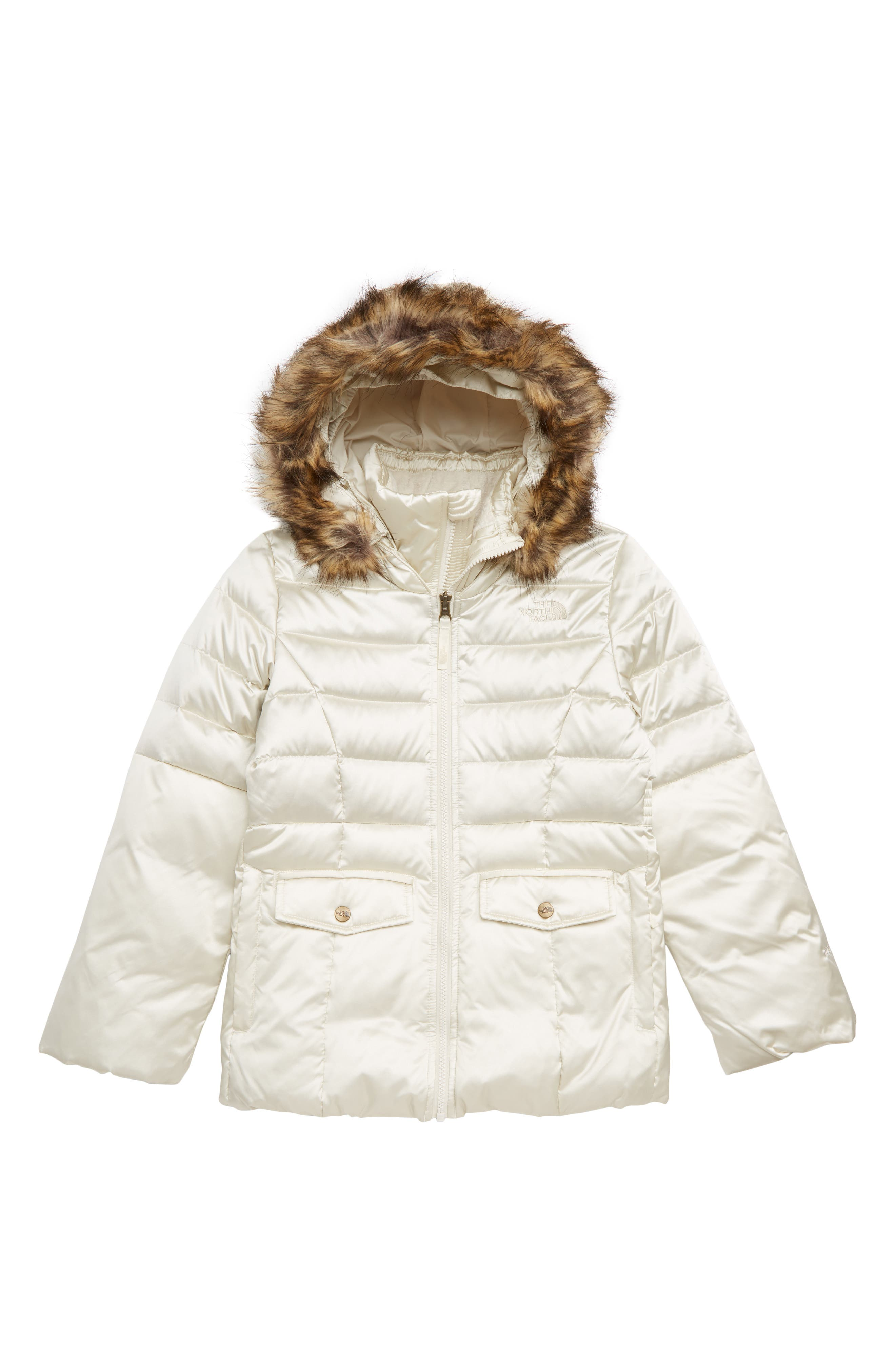 Gotham 2.0 Water Resistant 550-Fill-Power Down Jacket with Faux Fur Trim,                         Main,                         color, VINTAGE WHITE