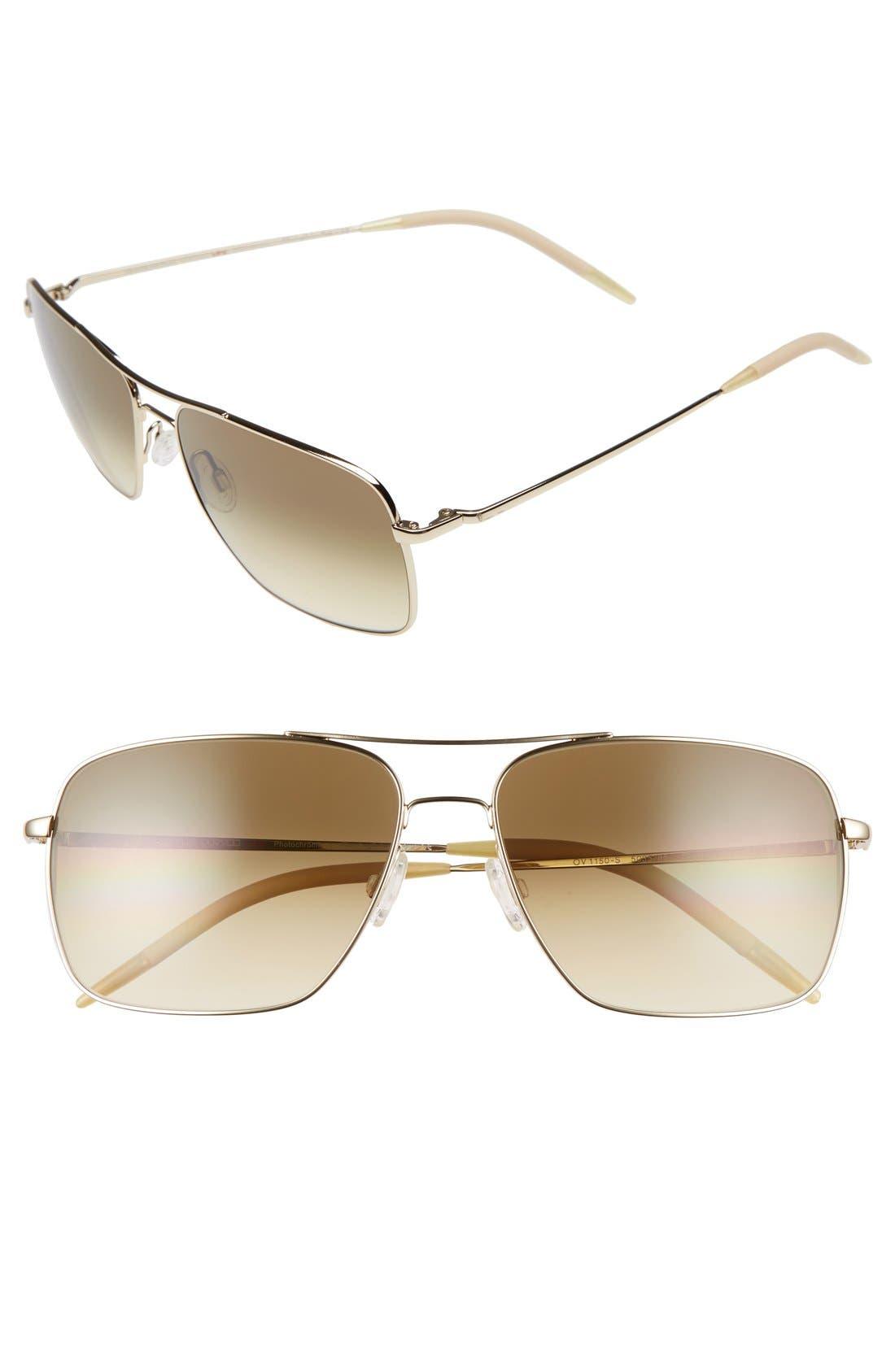 Clifton 58mm Aviator Sunglasses,                             Main thumbnail 1, color,                             GOLD