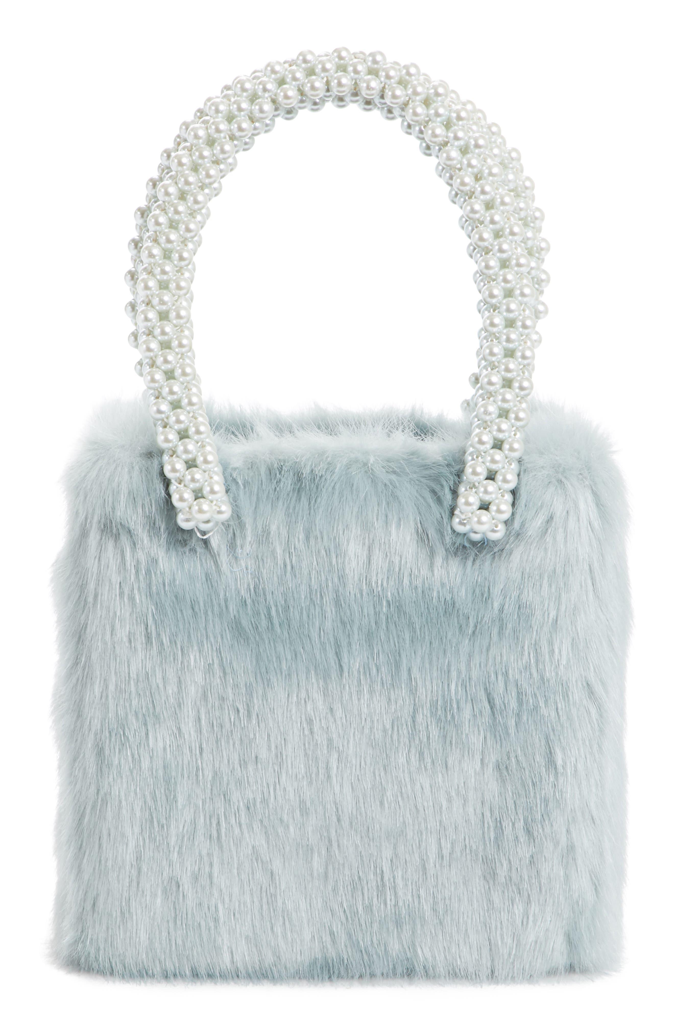 Una Check Faux Fur Bag with Imitation Pearl Handles,                             Alternate thumbnail 3, color,                             440