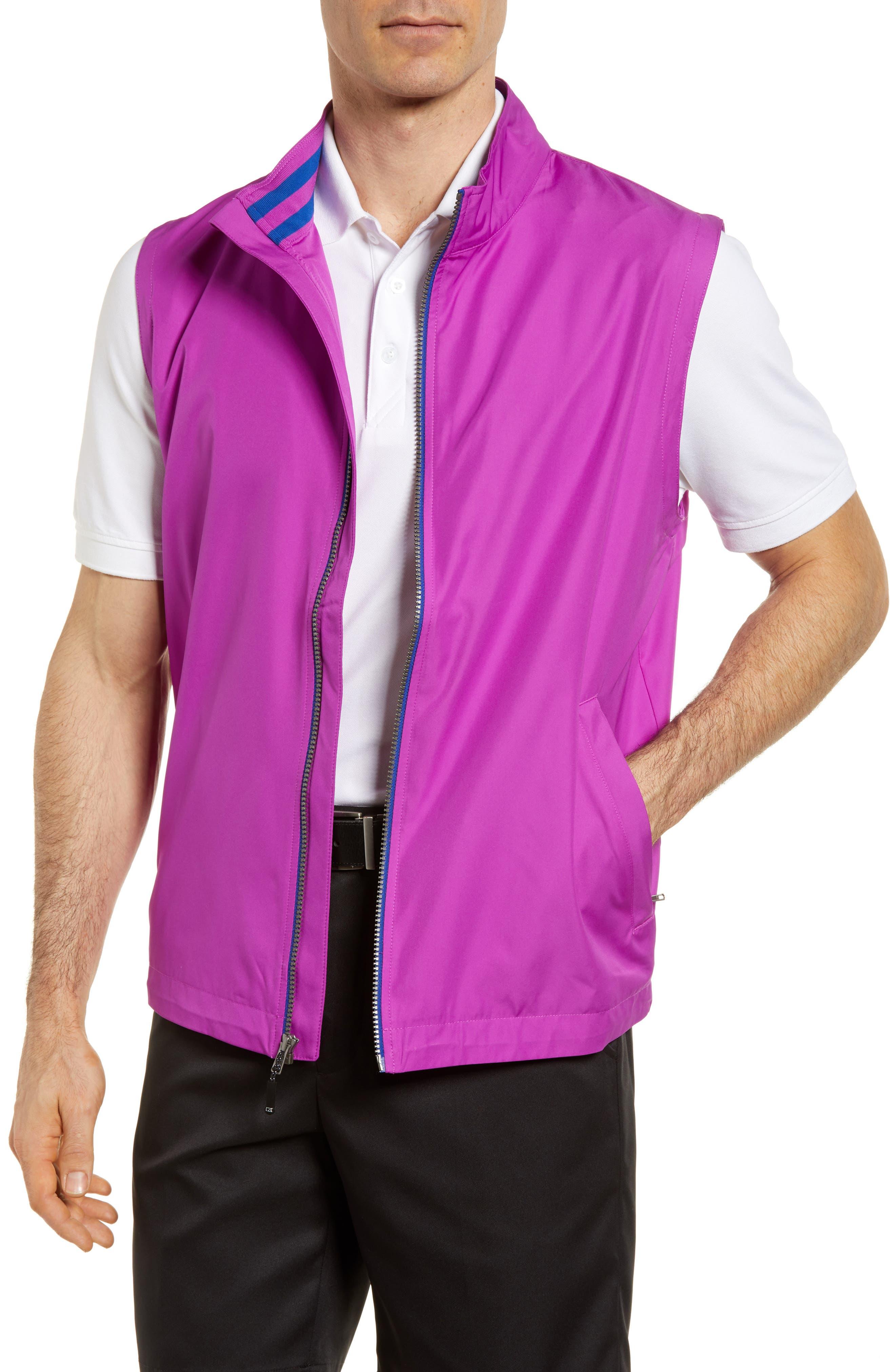 Cutter & Buck Nine Iron Drytec Zip Vest, Purple