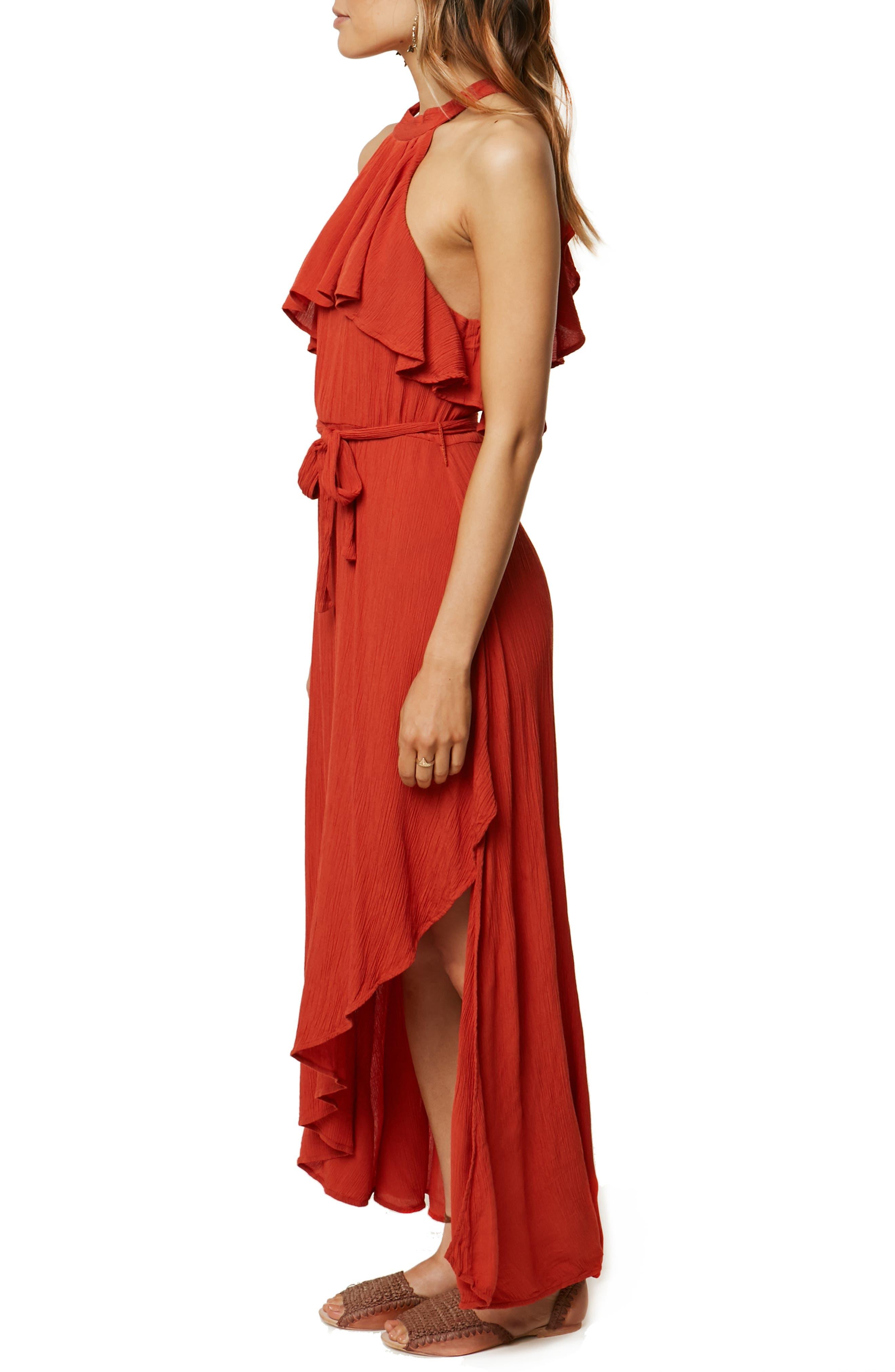 Misty Ruffle Asymmetrical Maxi Dress,                             Alternate thumbnail 3, color,                             TABASCO