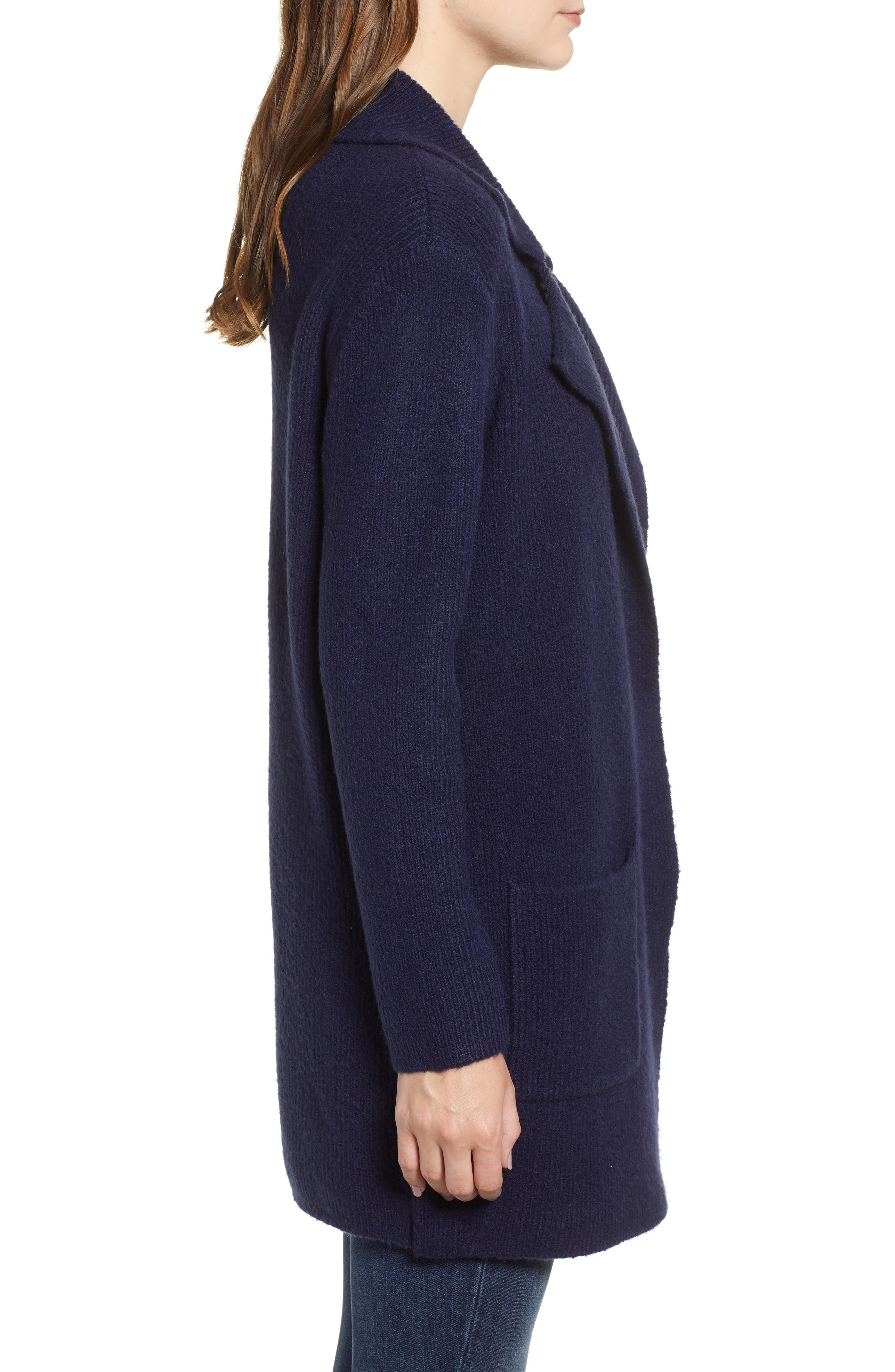 Knit Sweater Coat,                             Alternate thumbnail 3, color,                             NAVY MARITIME