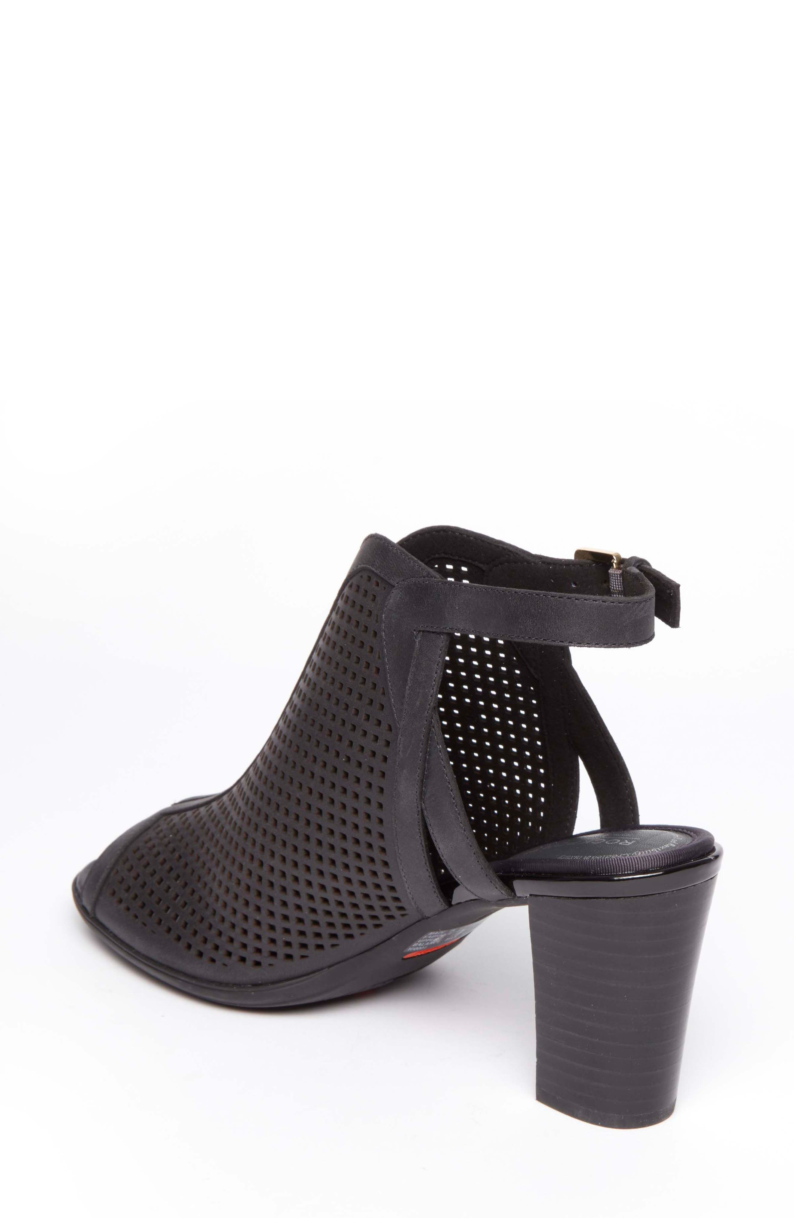 Total Motion Luxe Perforated Sandal,                             Alternate thumbnail 2, color,                             BLACK LEATHER