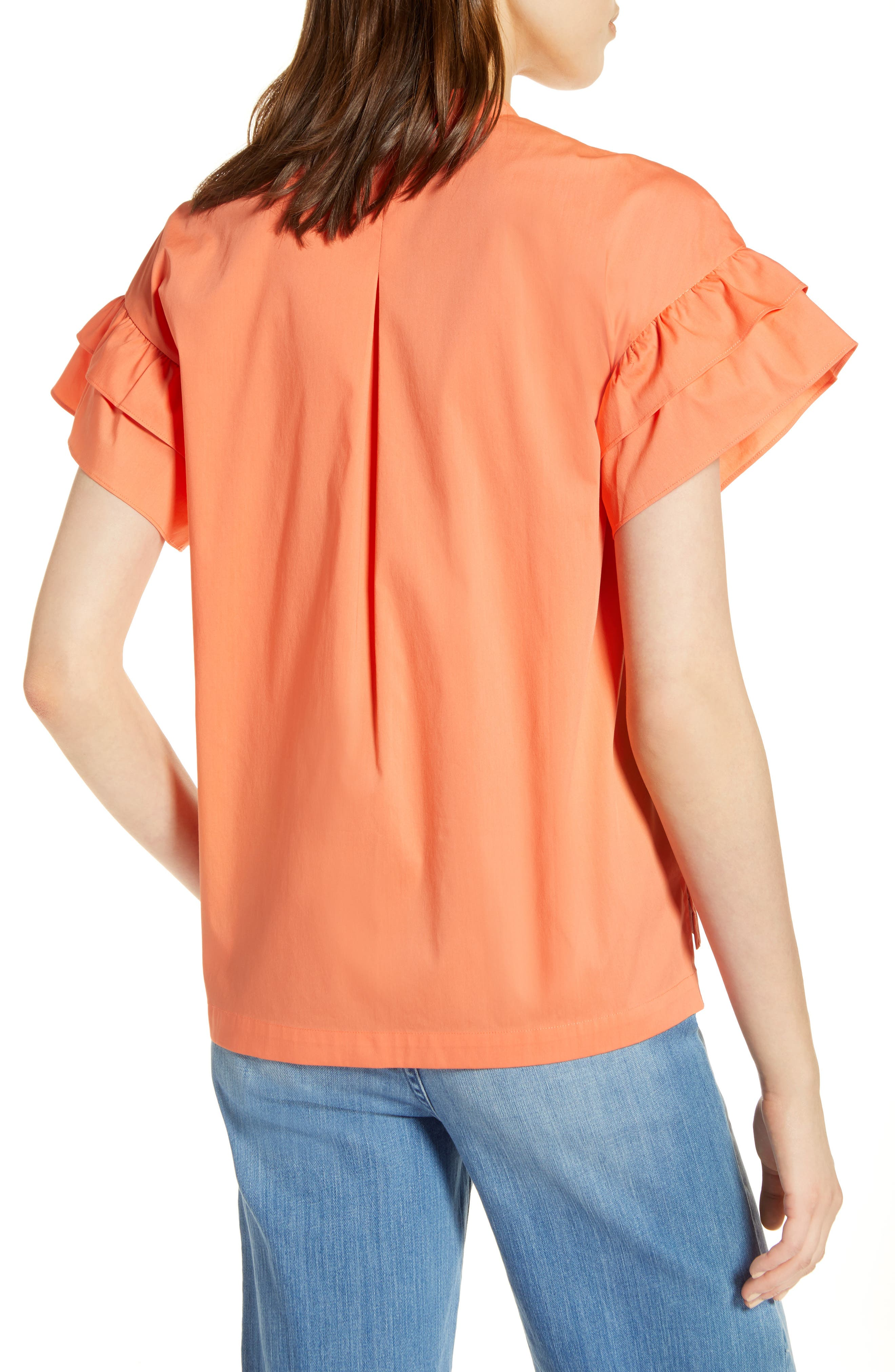 Ruffle Sleeve Stretch Cotton Blend Blouse,                             Alternate thumbnail 9, color,