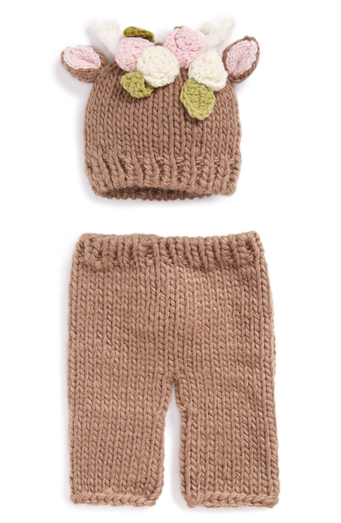 Blueberry Hill 'Hartley - Deer with Flowers' Knit Hat & Pants Set,                             Alternate thumbnail 5, color,                             200