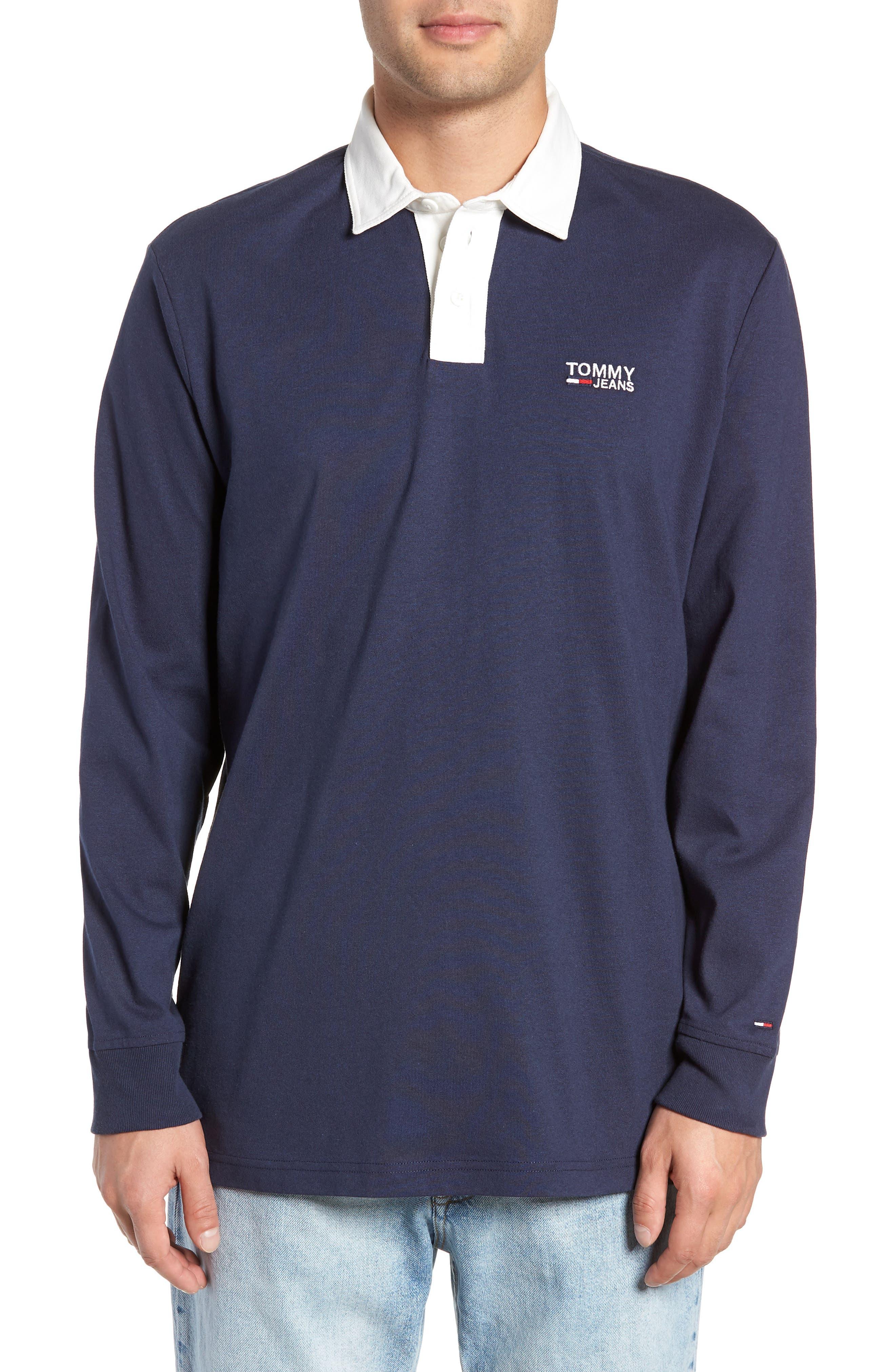 TJM Essential Rugby Shirt,                         Main,                         color, BLACK IRIS