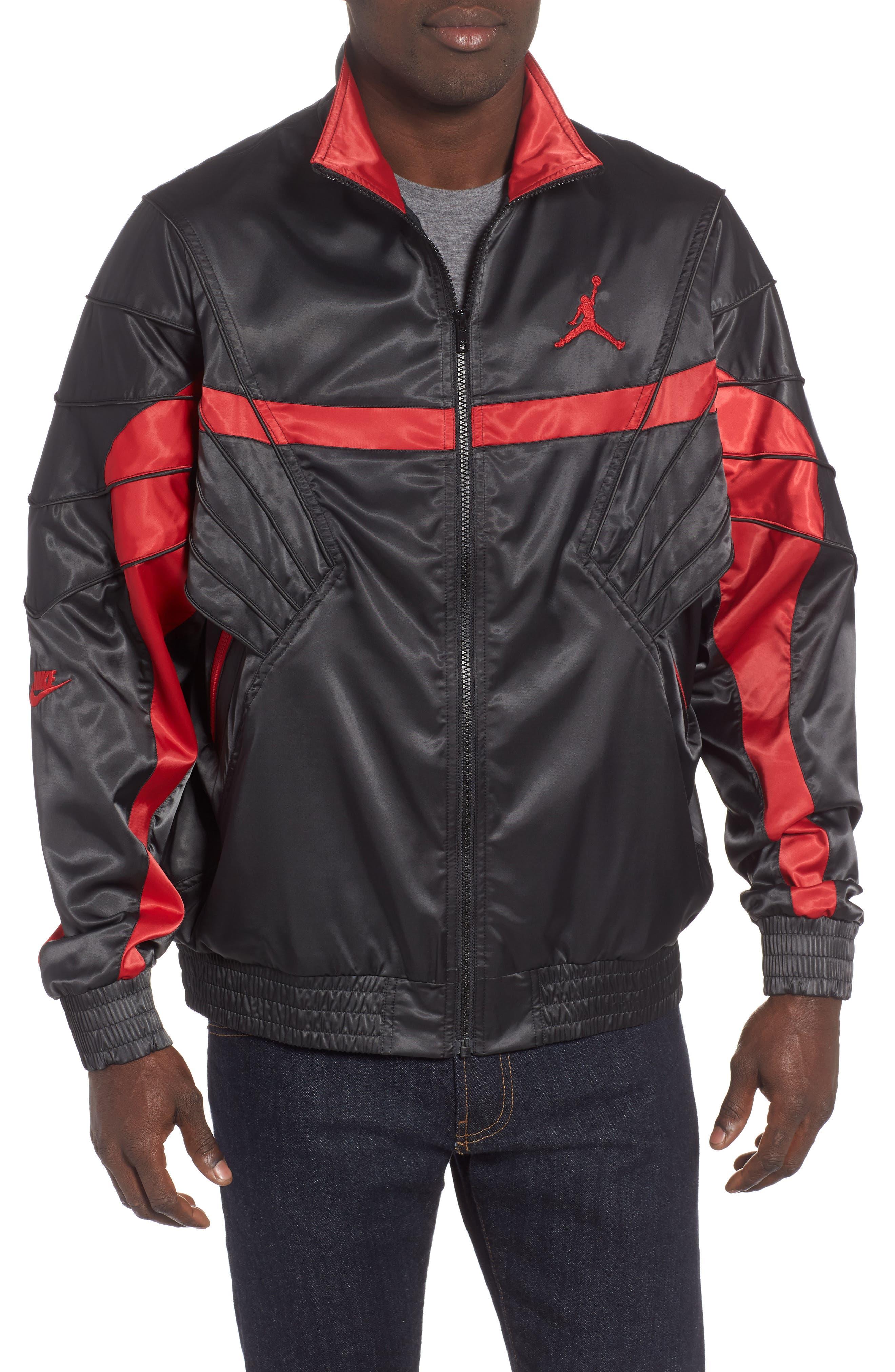 AJ5 Satin Track Jacket, Main, color, BLACK