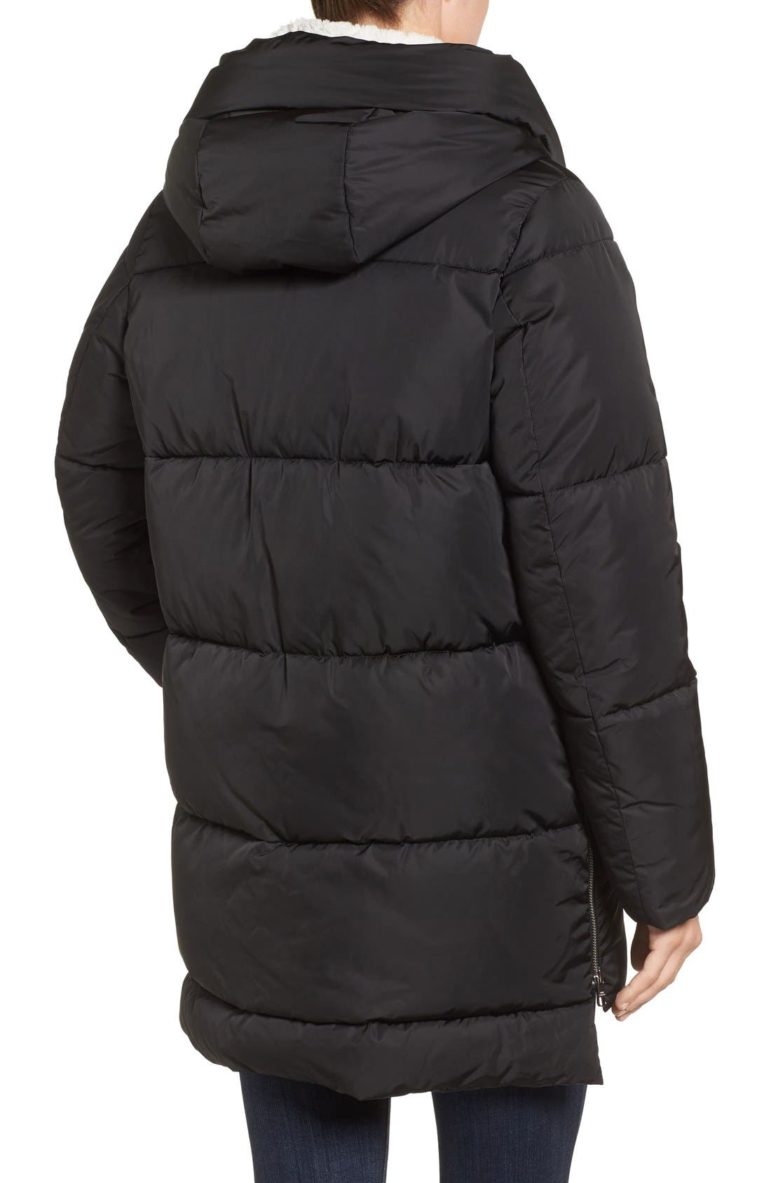 Hooded Puffer Jacket with Faux Shearling Trim,                             Alternate thumbnail 7, color,