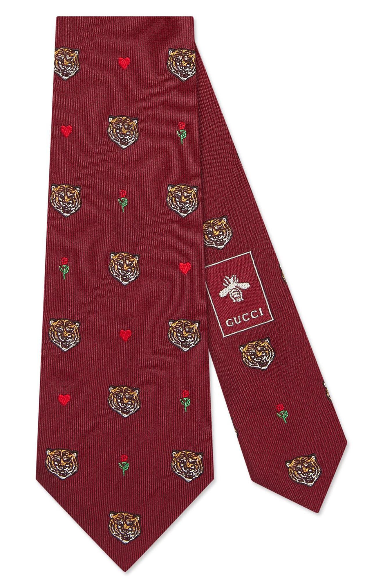 Tigerheart Silk Tie,                             Main thumbnail 2, color,
