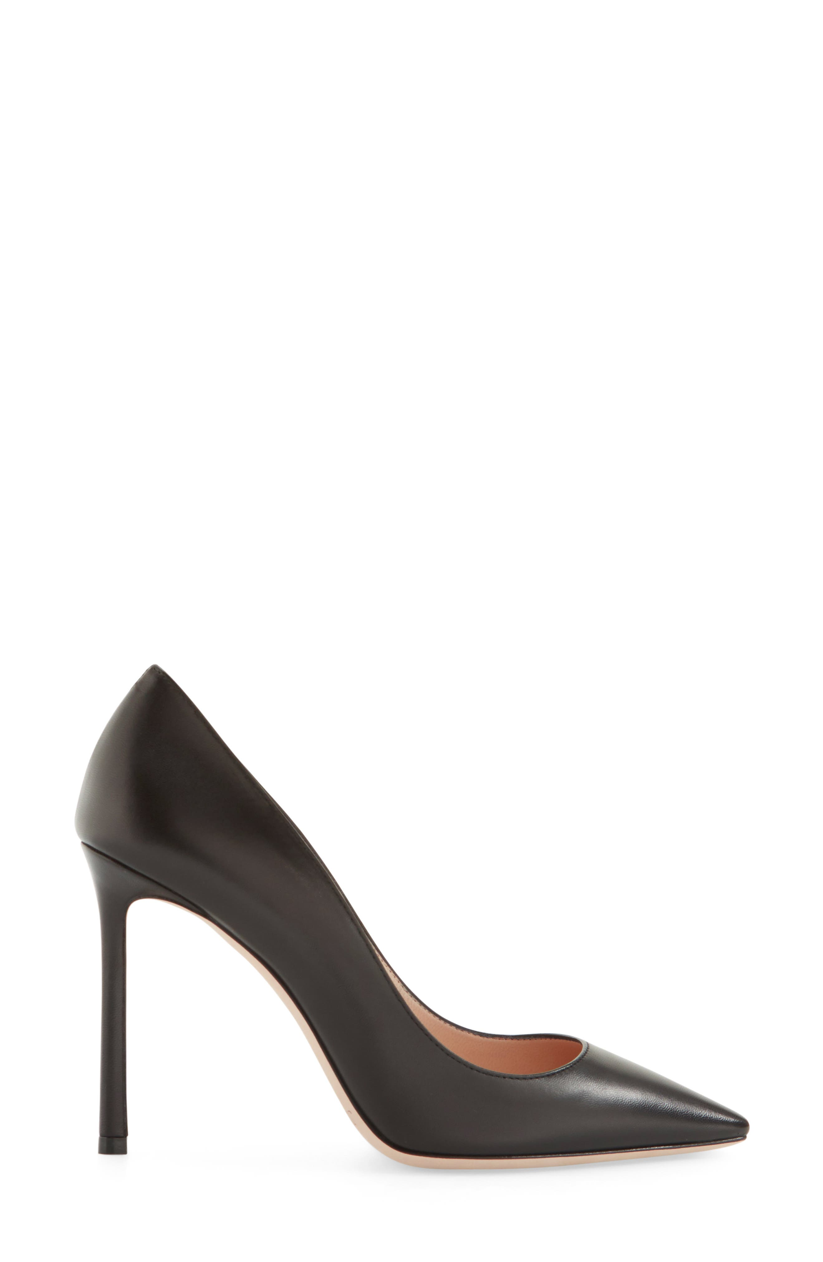 'Romy' Pointy Toe Pump,                             Alternate thumbnail 3, color,                             BLACK LEATHER