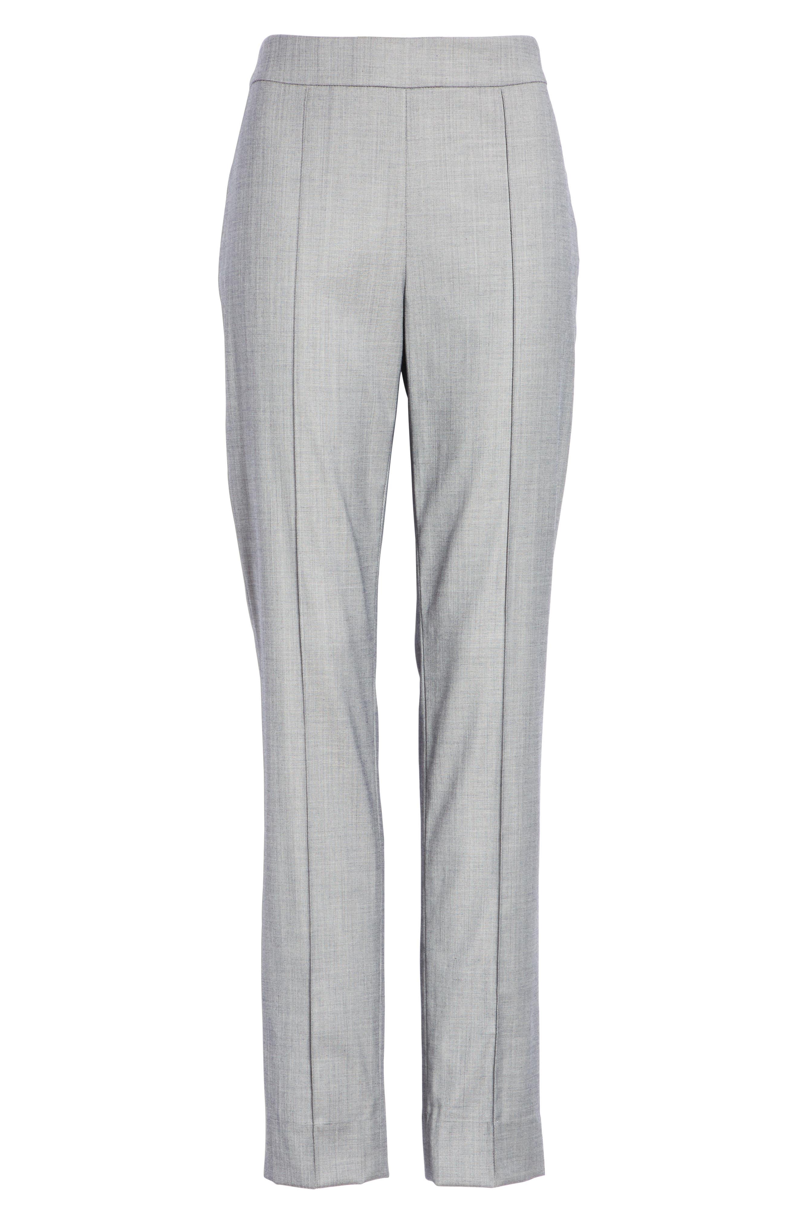 Sharkskin Stretch Wool Blend Skinny Ankle Pants,                             Alternate thumbnail 6, color,                             GREY MULTI