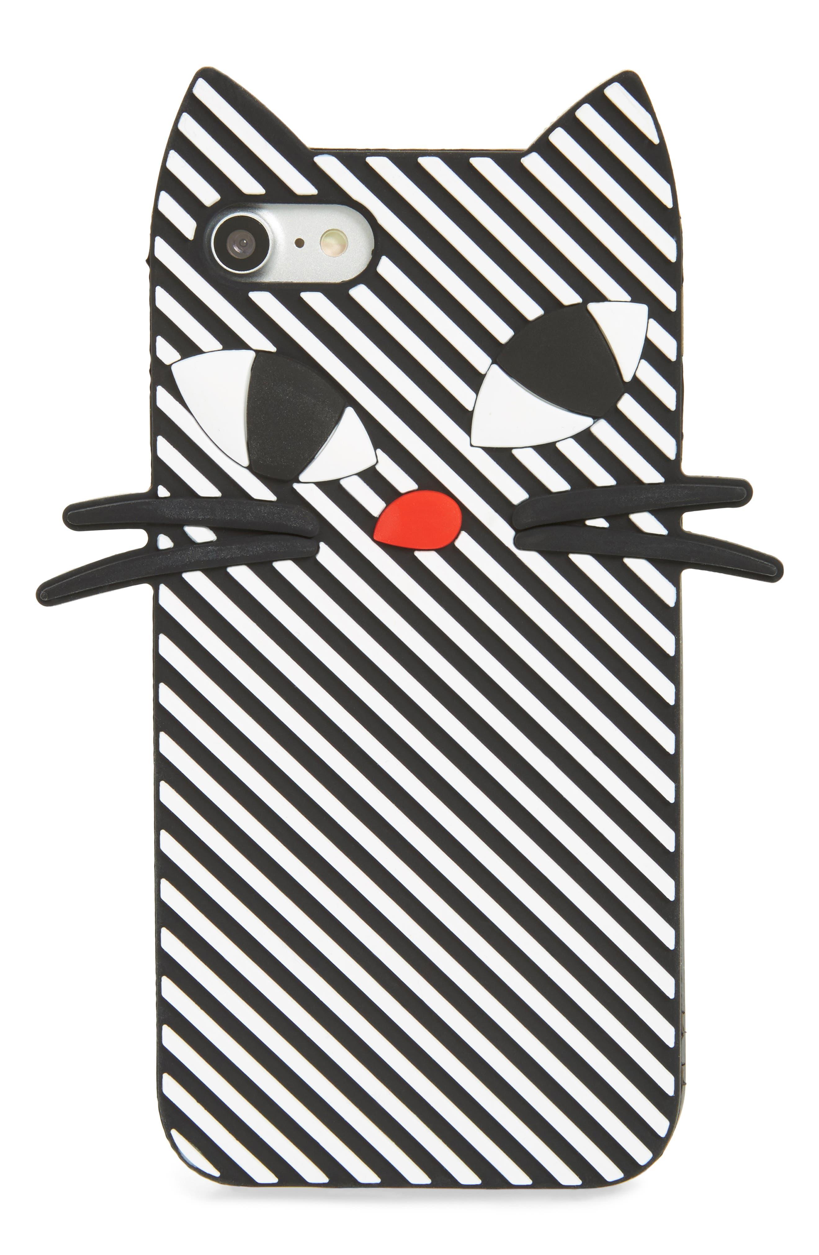 Stripe Cat iPhone 7/8 Case,                             Main thumbnail 1, color,