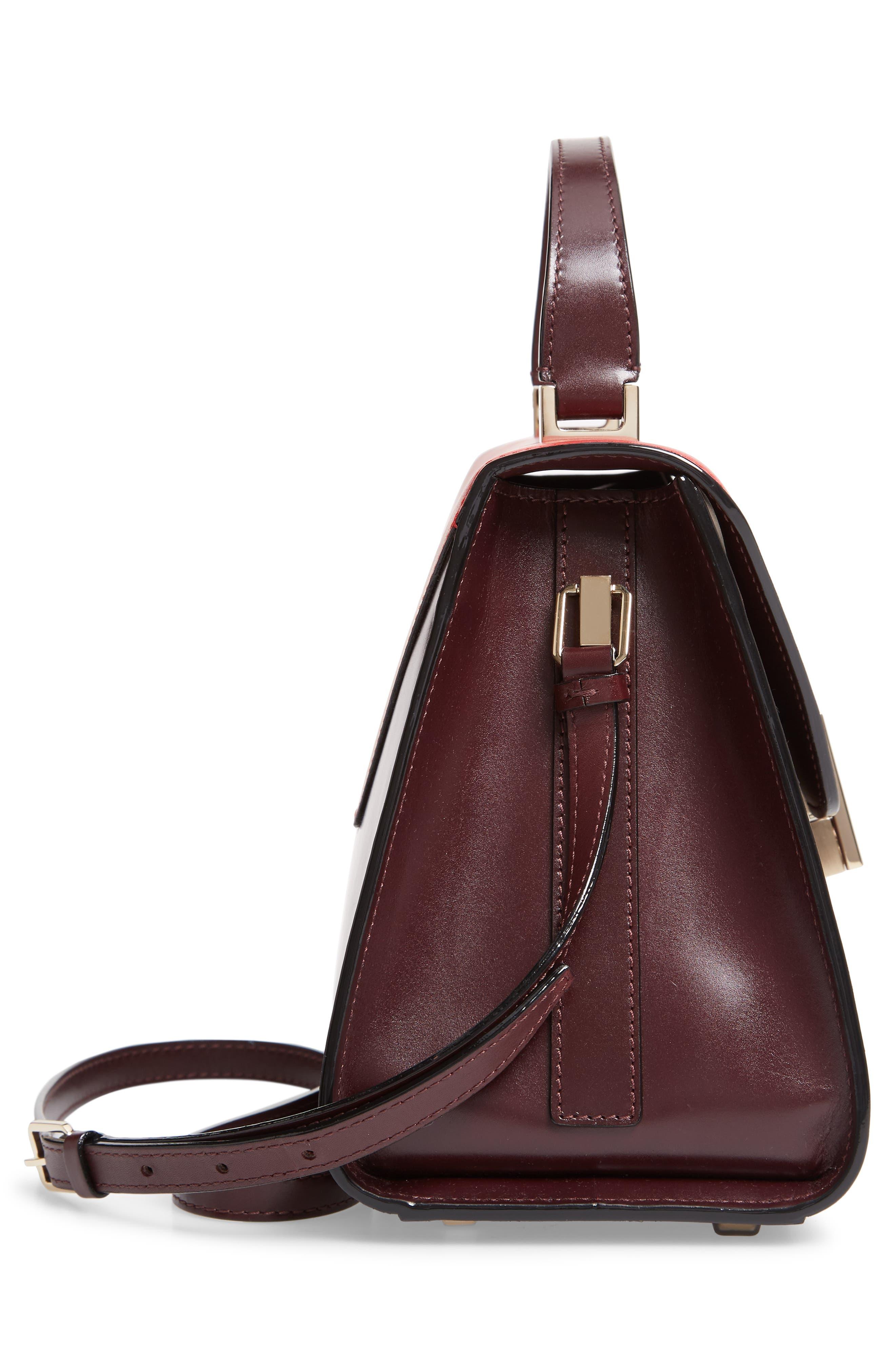 Iside Medium Colorblock Leather Top Handle Bag,                             Alternate thumbnail 5, color,                             FRAGOLA/ GRANATA