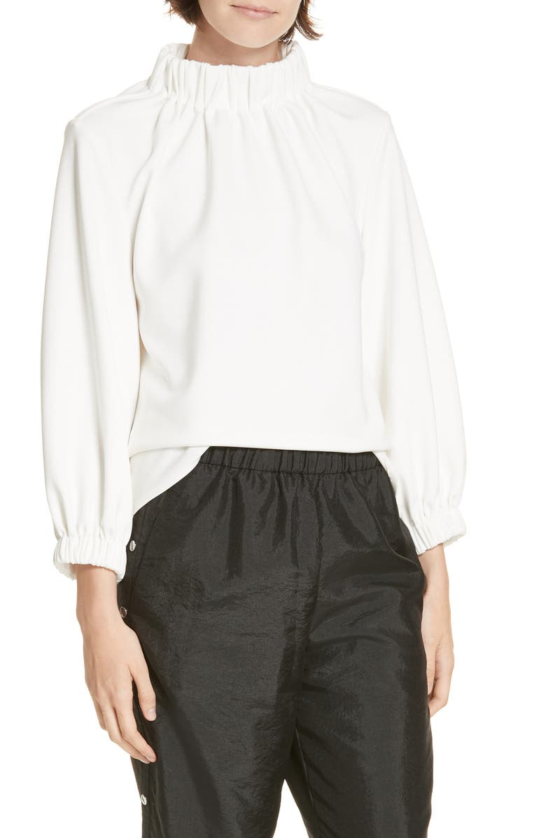 TIBI Shirred Neck Top, Main, color, WHITE