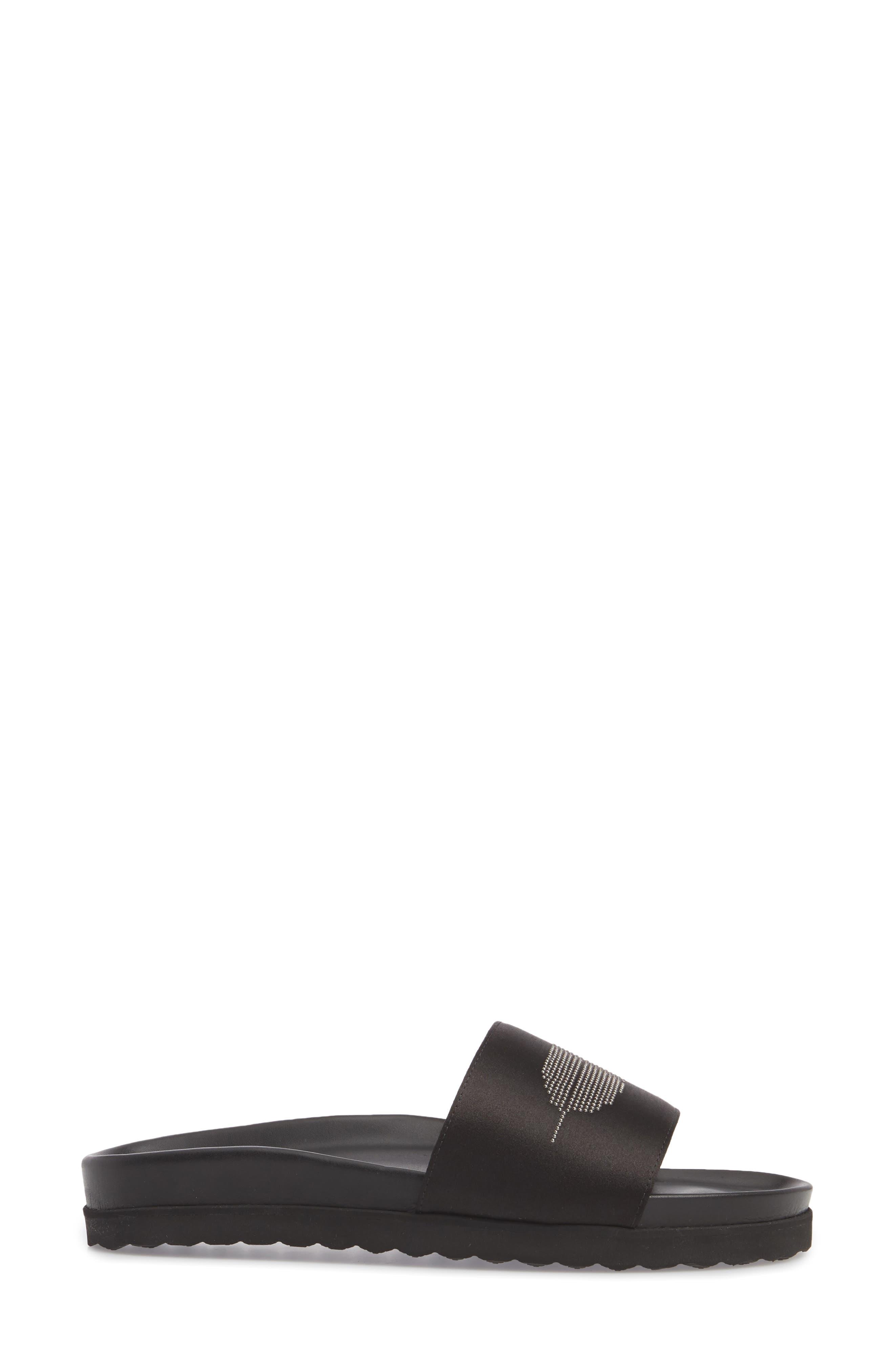 Satin Slide Sandal,                             Alternate thumbnail 3, color,                             BLACK