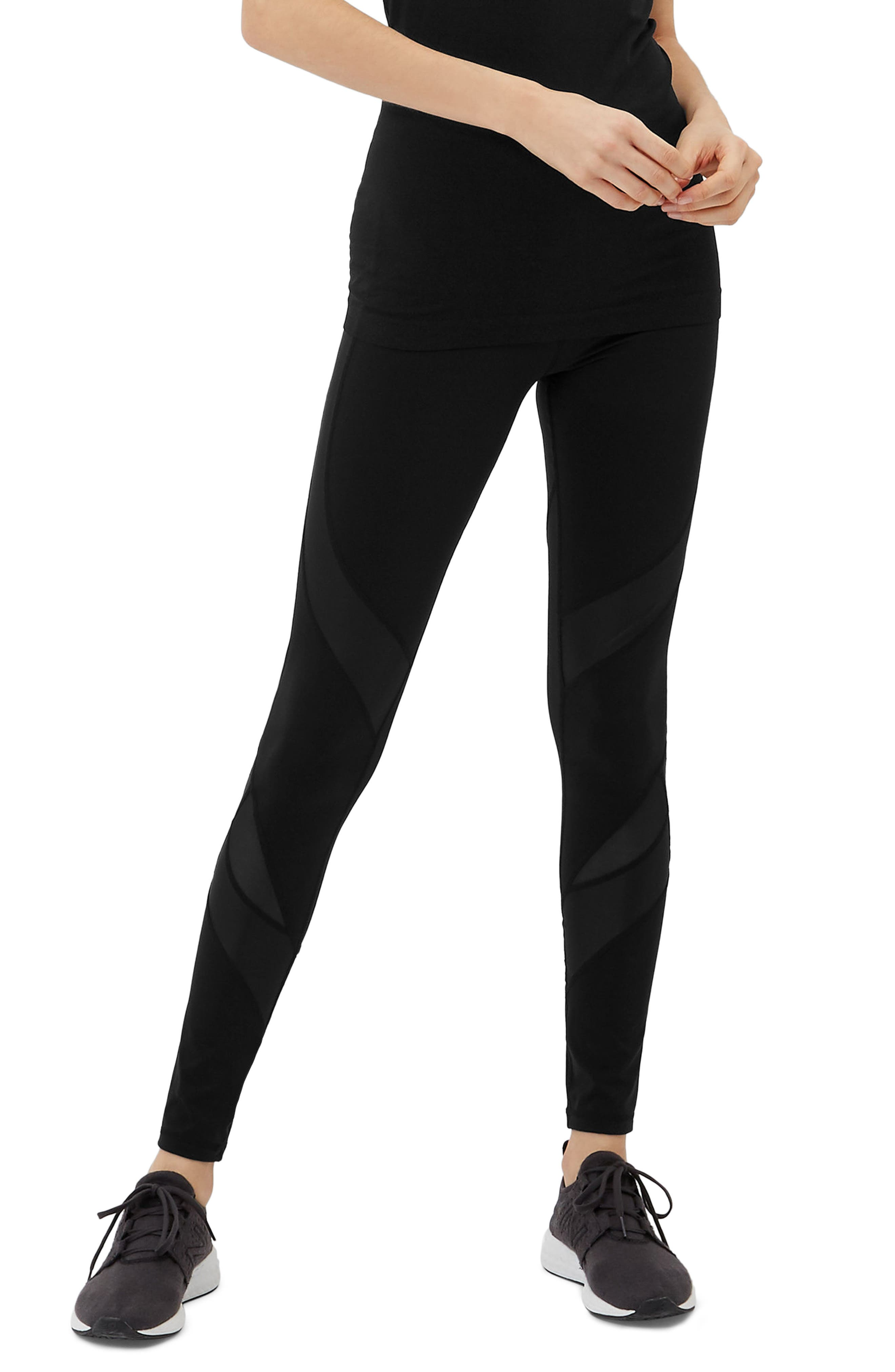 Wetlook Run Leggings,                             Main thumbnail 1, color,                             BLACK