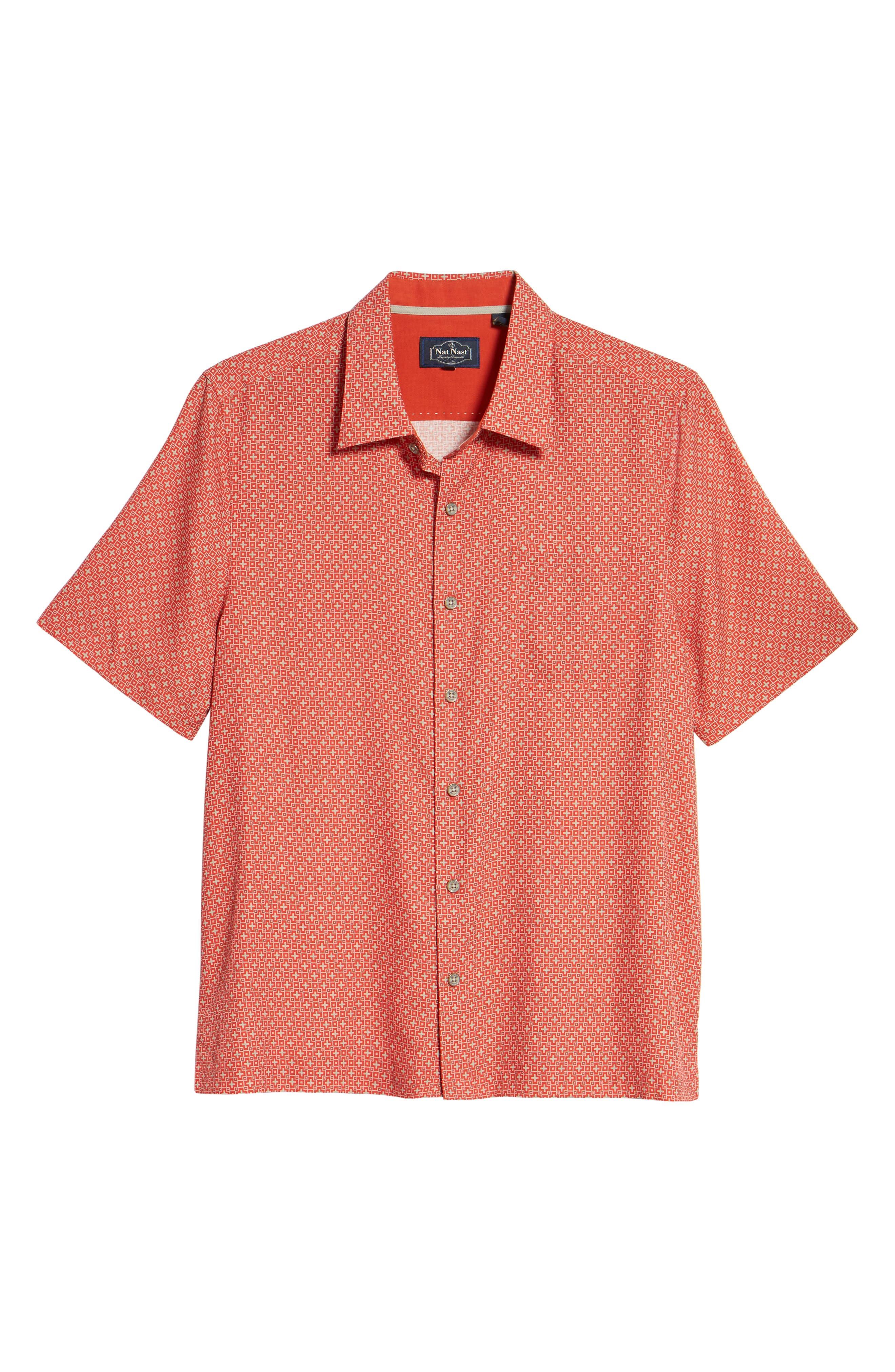 Everest Print Silk Blend Sport Shirt,                             Alternate thumbnail 18, color,