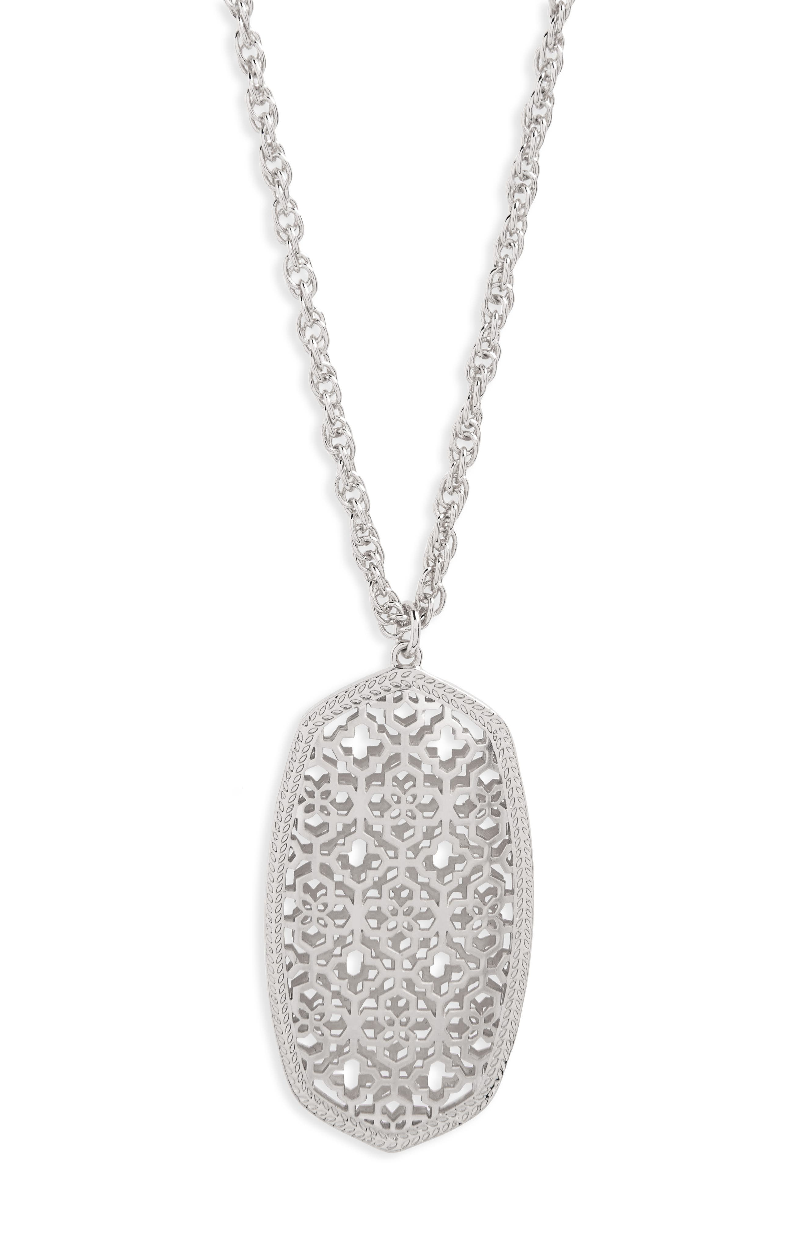 KENDRA SCOTT,                             Rae Long Filigree Pendant Necklace,                             Alternate thumbnail 2, color,                             SILVER FILIGREE
