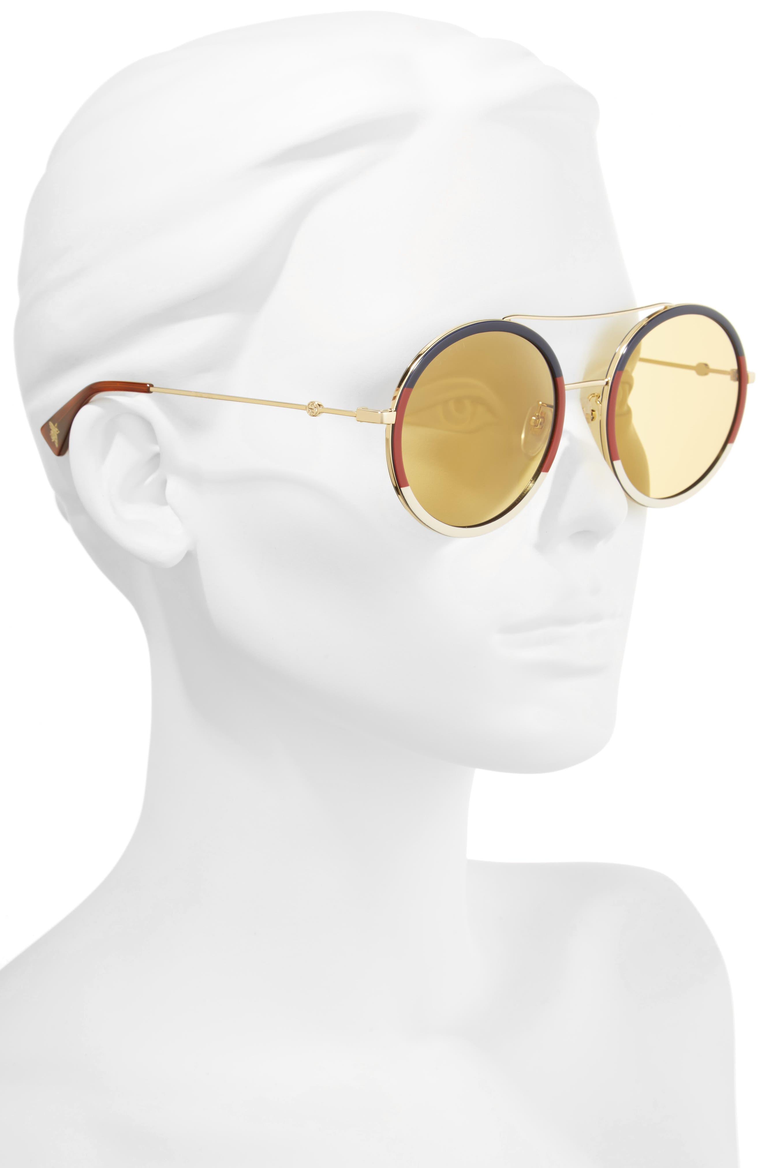 56mm Round Sunglasses,                             Alternate thumbnail 2, color,                             GOLD/ BLONDE HAVANA