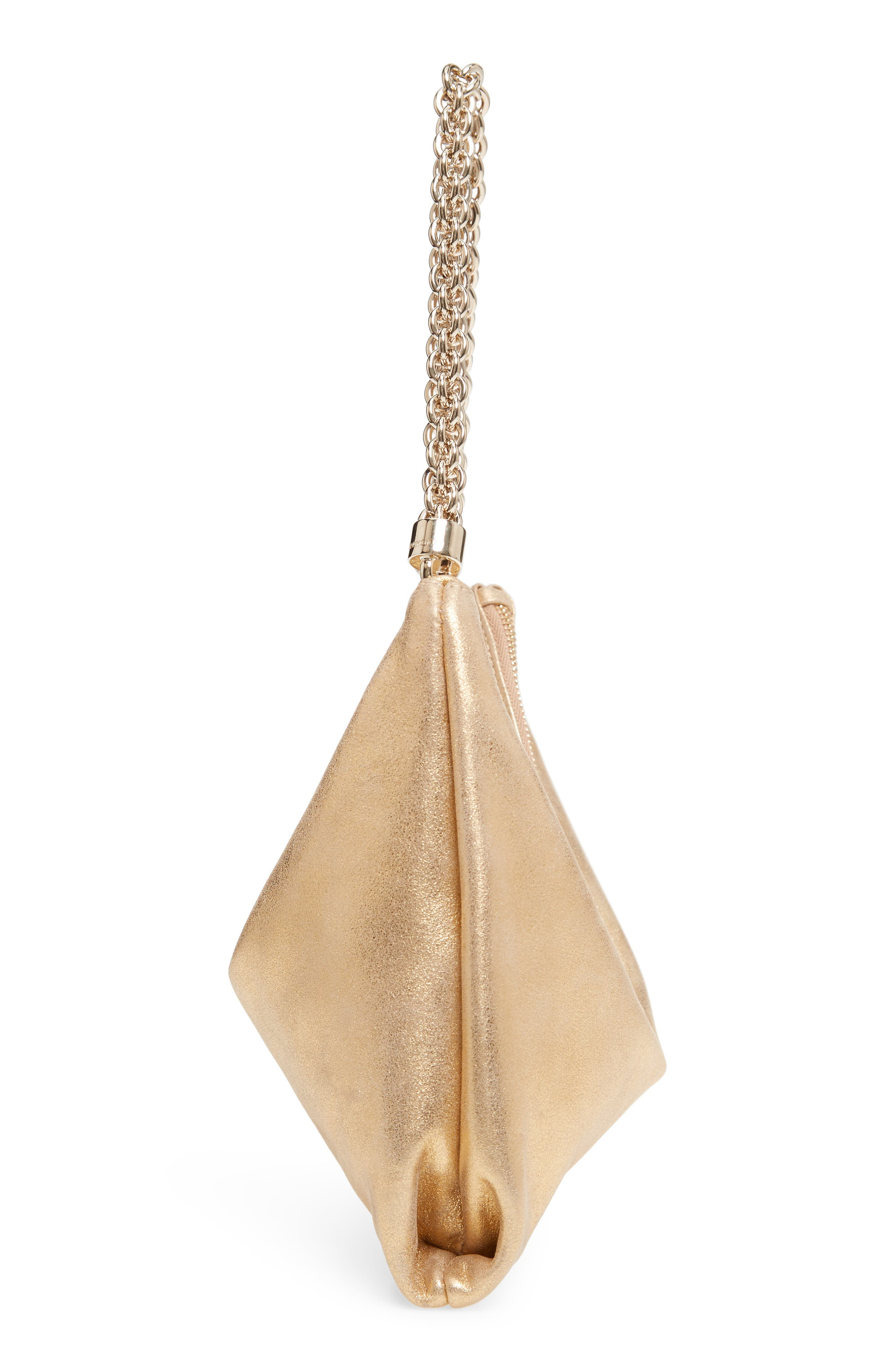 Callie Evening Metallic Leather Clutch,                             Alternate thumbnail 6, color,                             GOLD