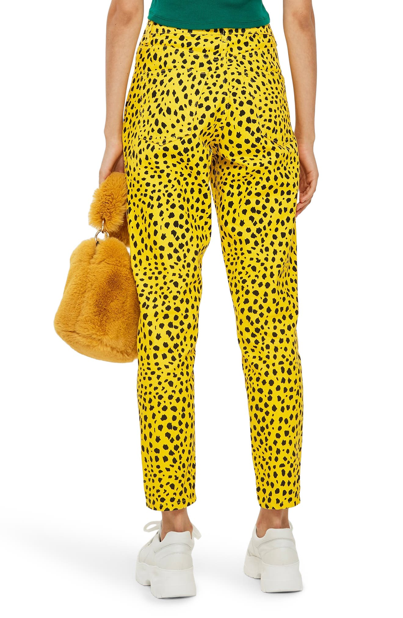 Leopard Mom Jeans,                             Alternate thumbnail 2, color,                             YELLOW