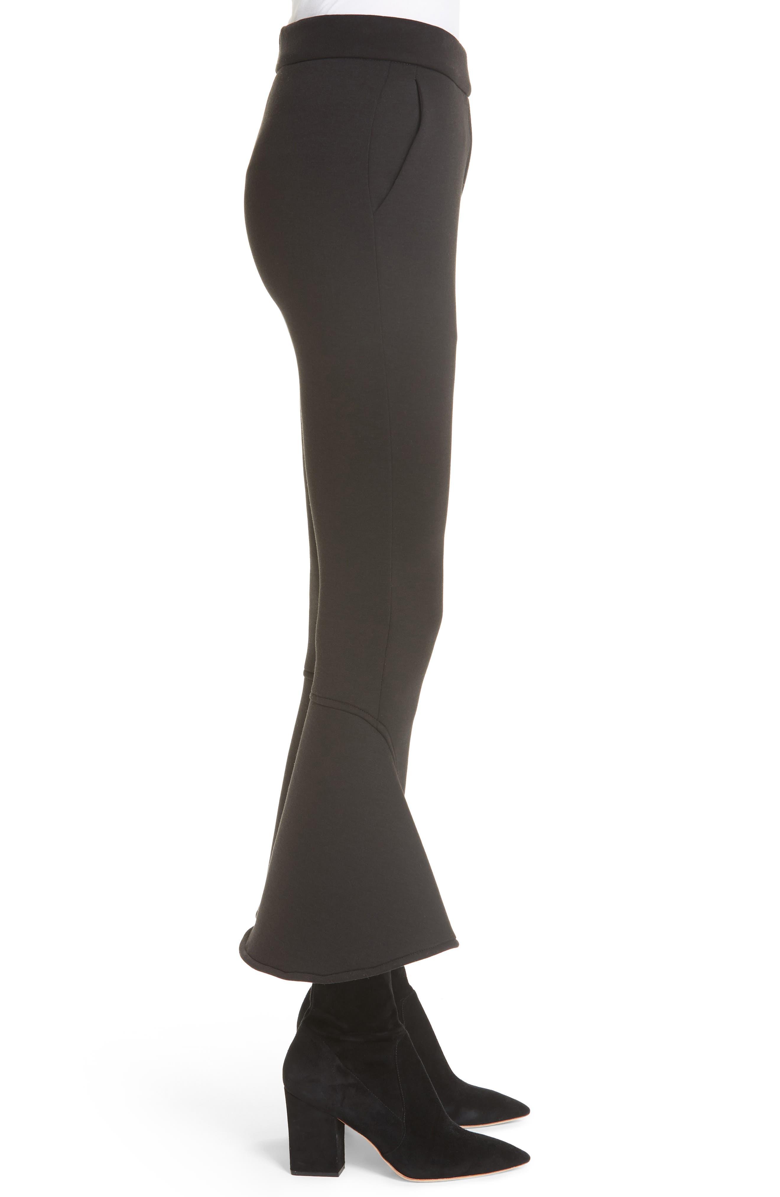 Ruffle Bell Bottom Neoprene Pants,                             Alternate thumbnail 3, color,                             BLACK