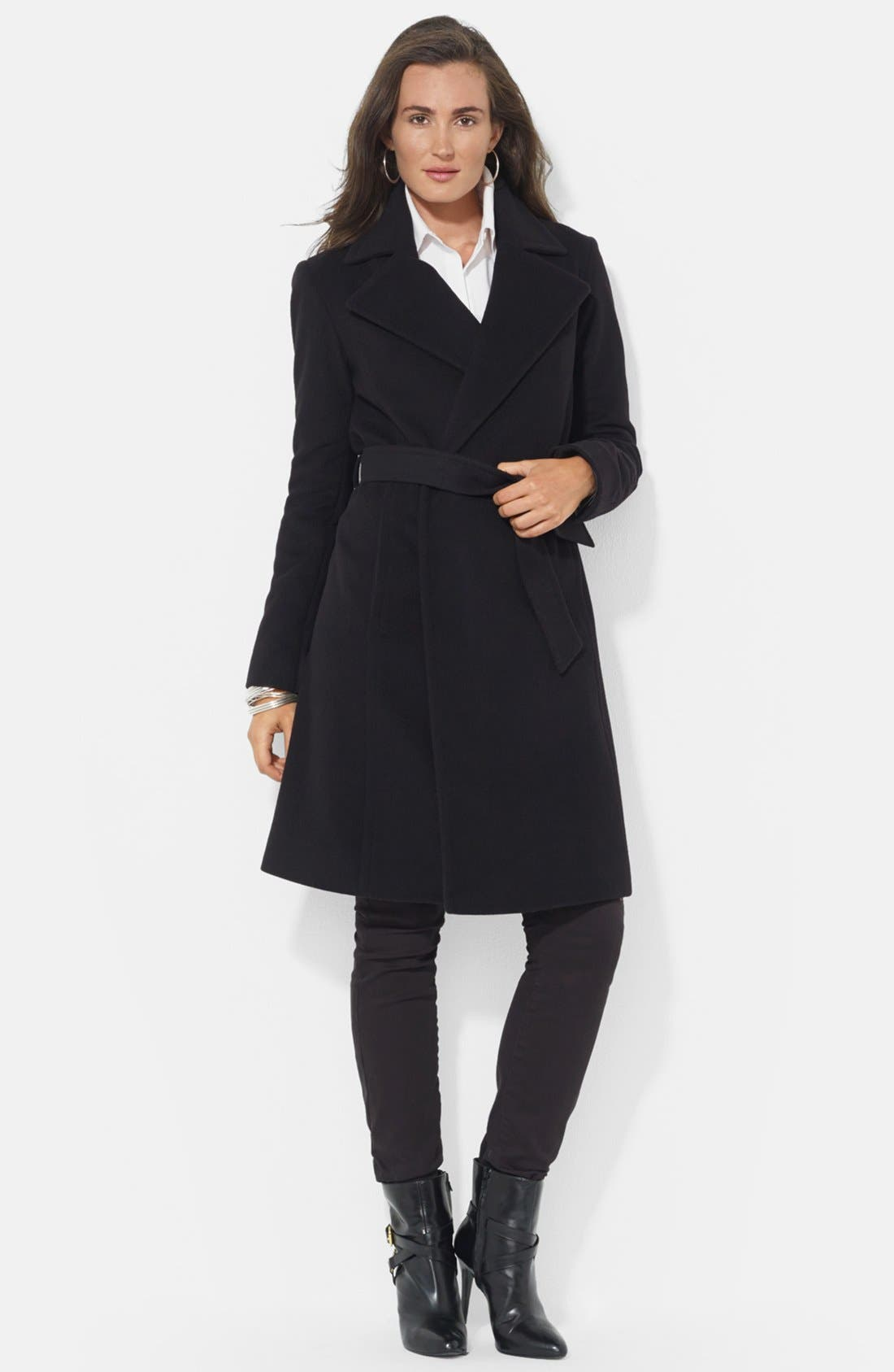 LAUREN RALPH LAUREN Wool Blend Wrap Coat, Main, color, BLACK