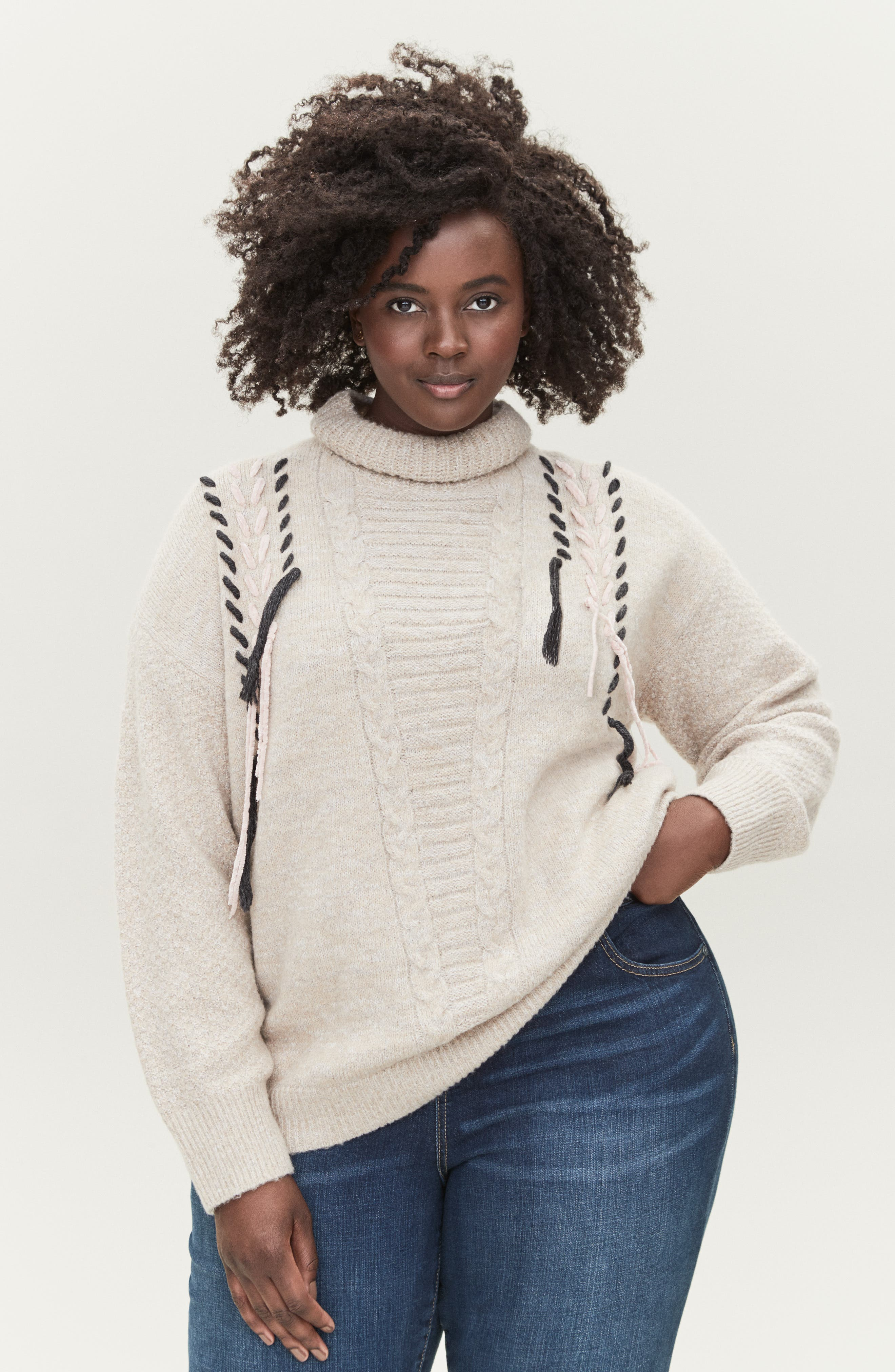 Mock Neck Cable Knit Sweater,                             Alternate thumbnail 7, color,                             230