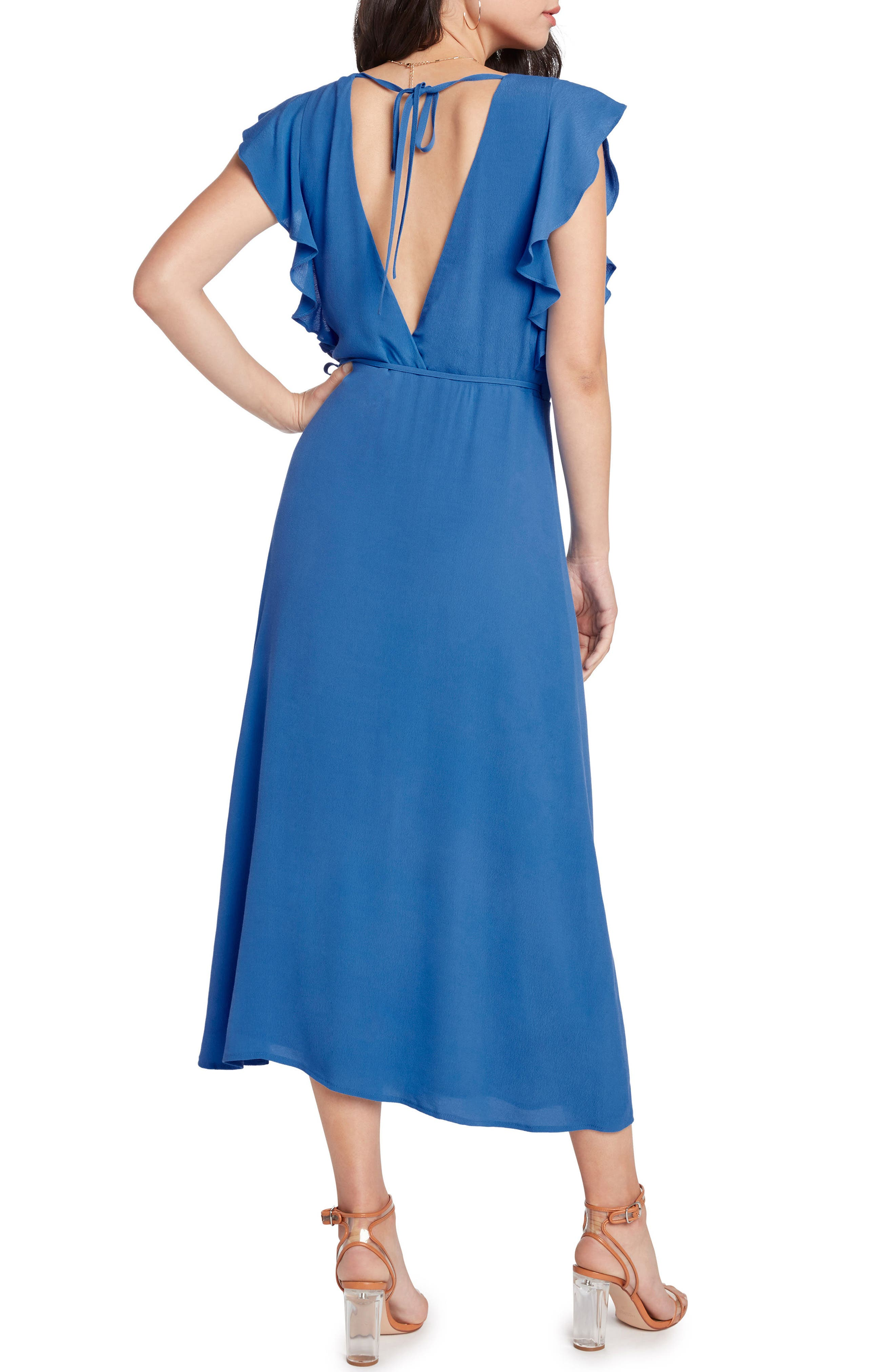Solid Wrap Midi Dress,                             Alternate thumbnail 3, color,