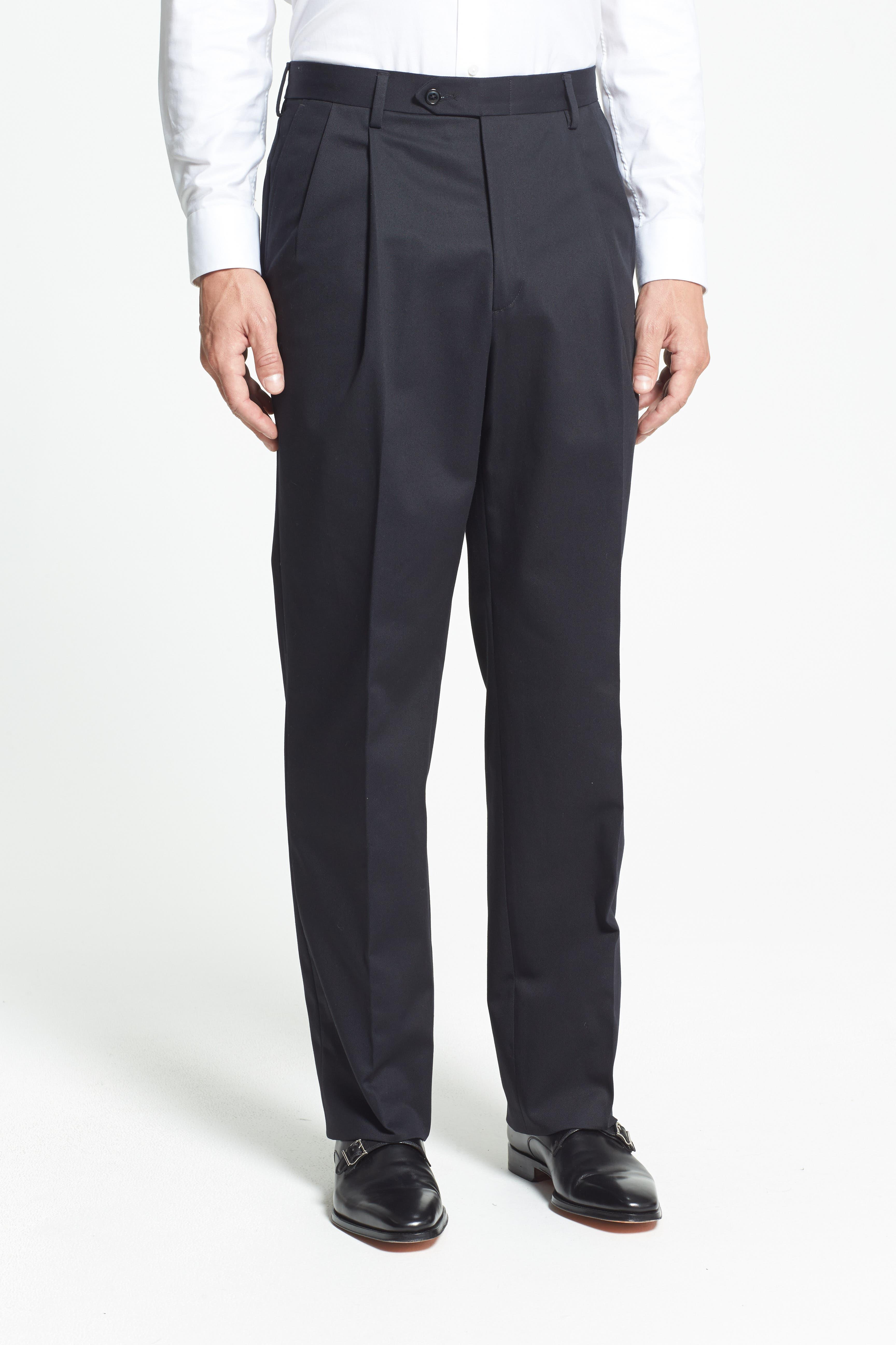 Pleated Cotton Trousers,                             Alternate thumbnail 5, color,                             BLACK