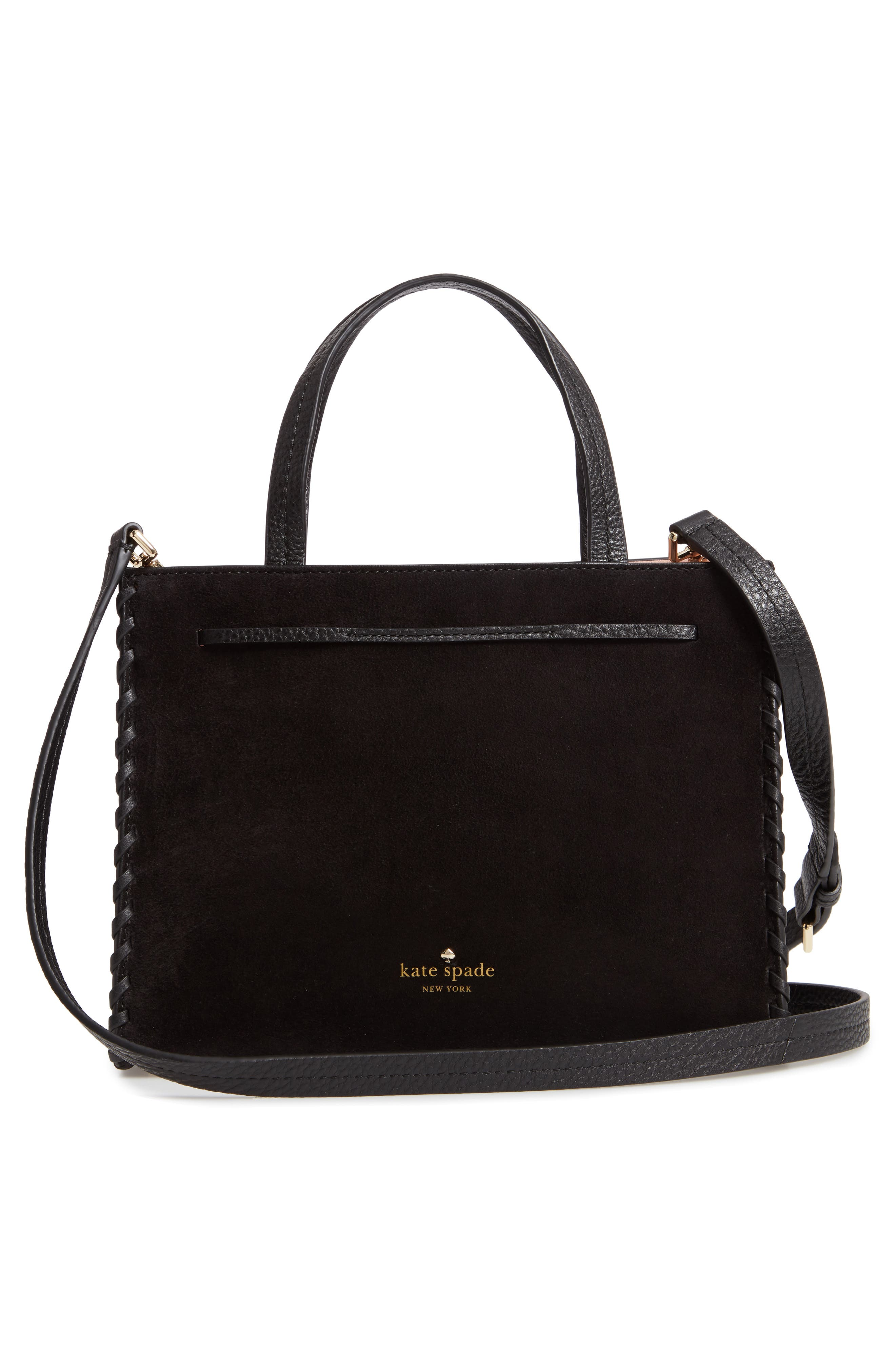 hayes street - rose studs suede & leather satchel,                             Alternate thumbnail 3, color,                             BLACK