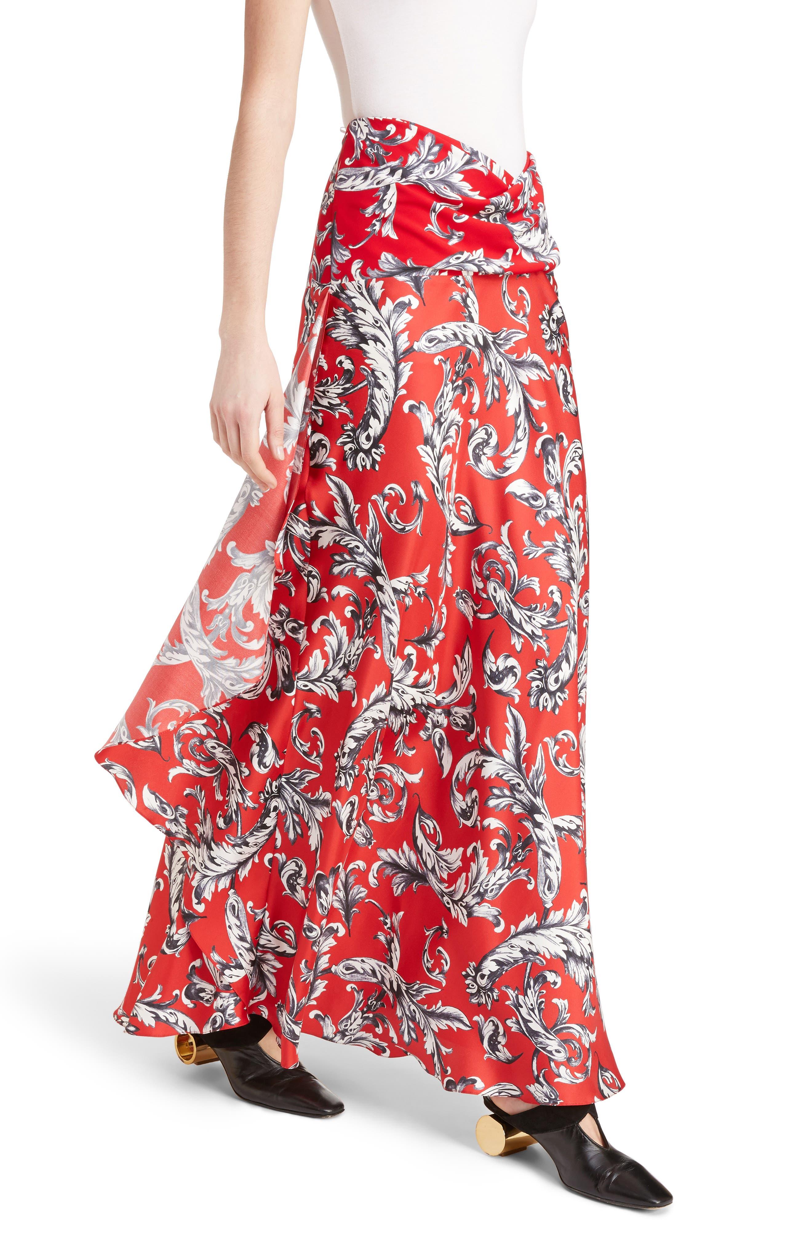J.W.ANDERSON Filigree Print Asymmetrical Maxi Skirt,                             Alternate thumbnail 4, color,