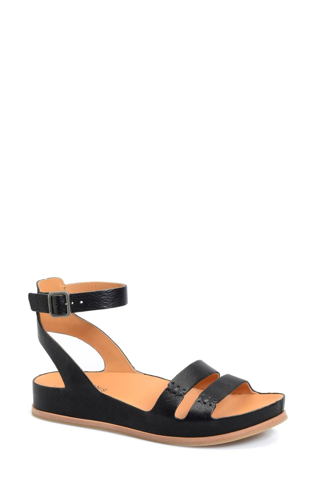 'Audrina' Ankle Strap Sandal,                         Main,                         color, BLACK LEATHER