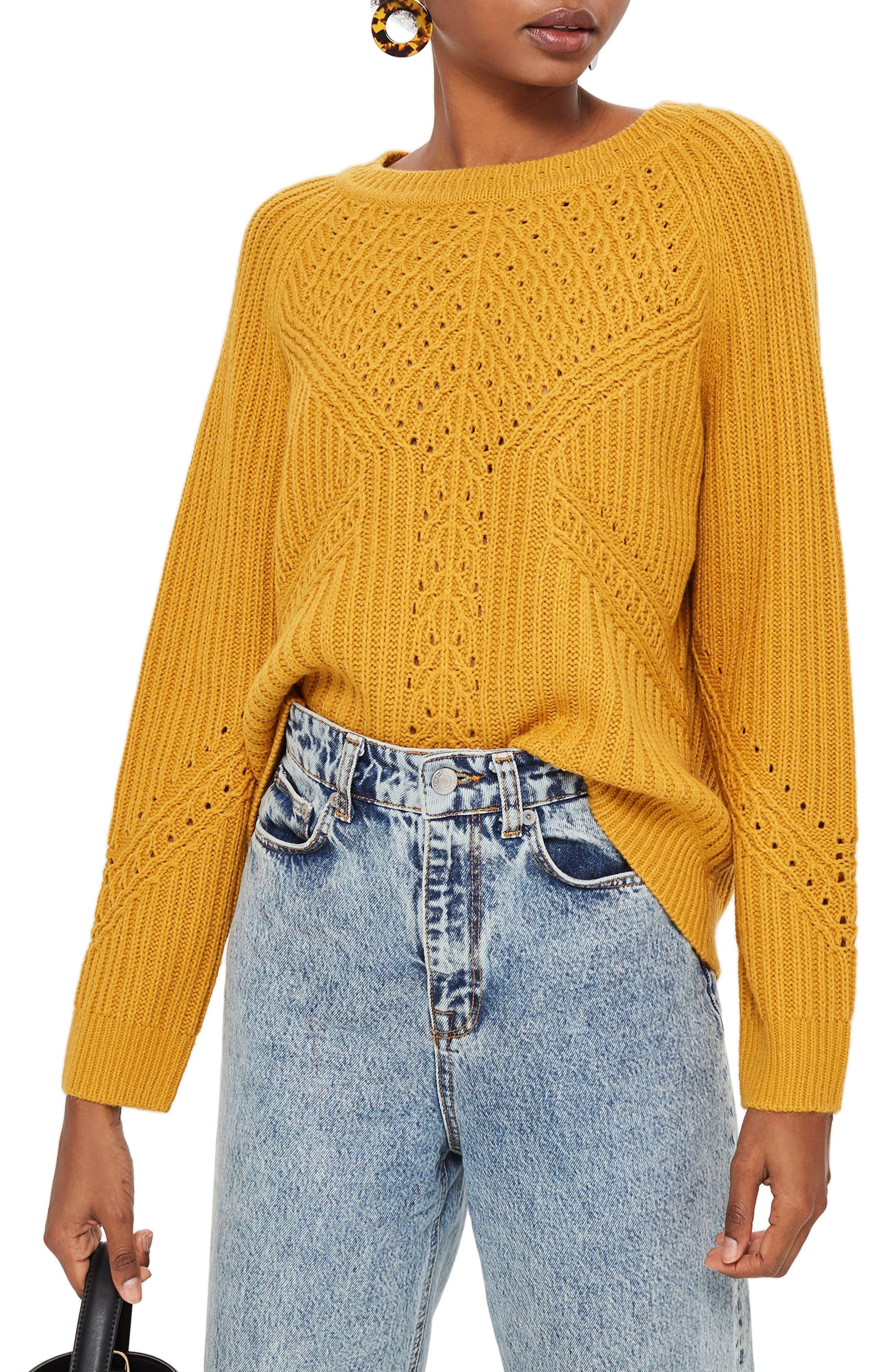 Rib & Pointelle Stitch Sweater,                         Main,                         color, MUSTARD