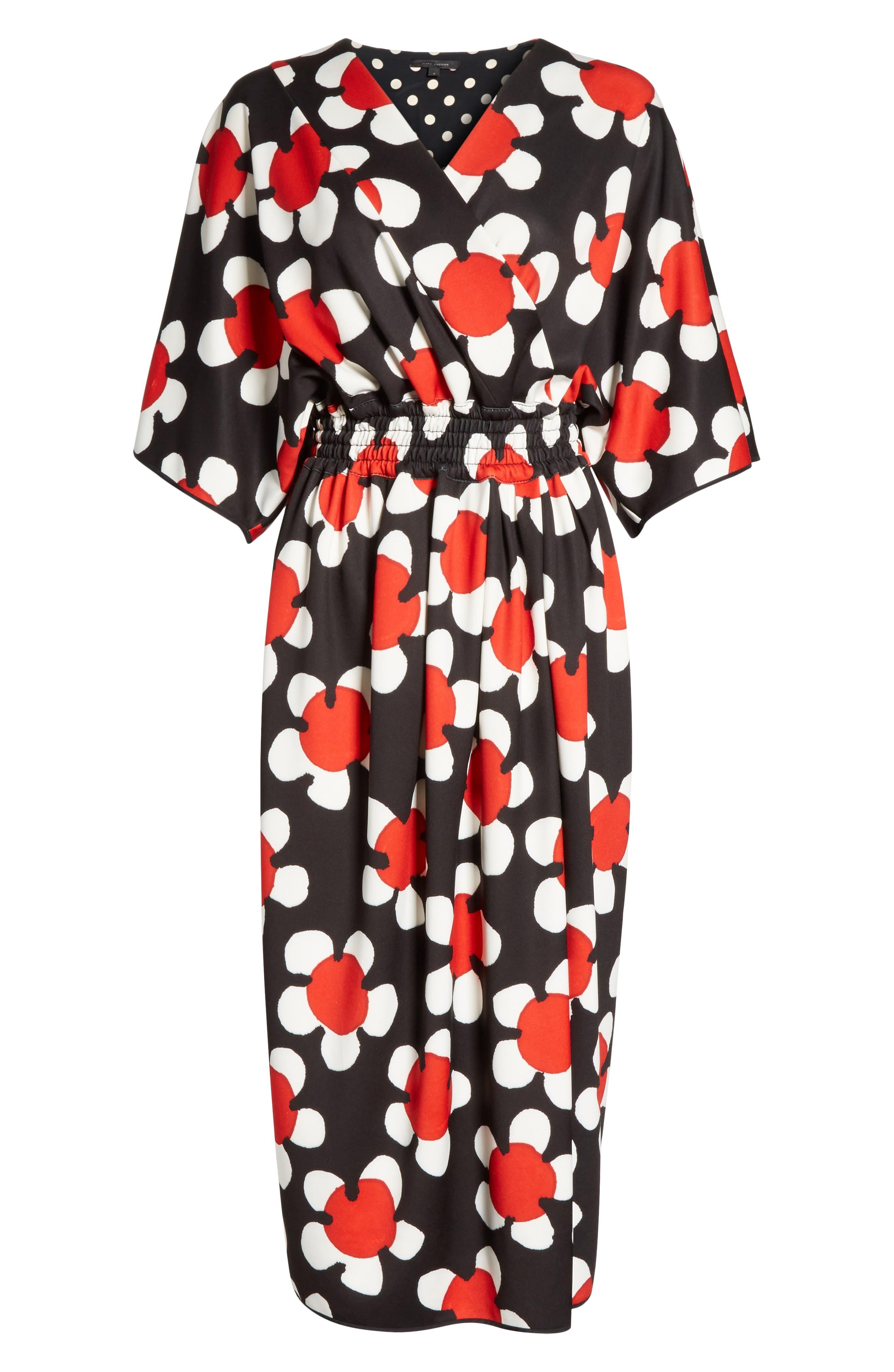 Surplice Neck Floral Print Dress,                             Alternate thumbnail 6, color,