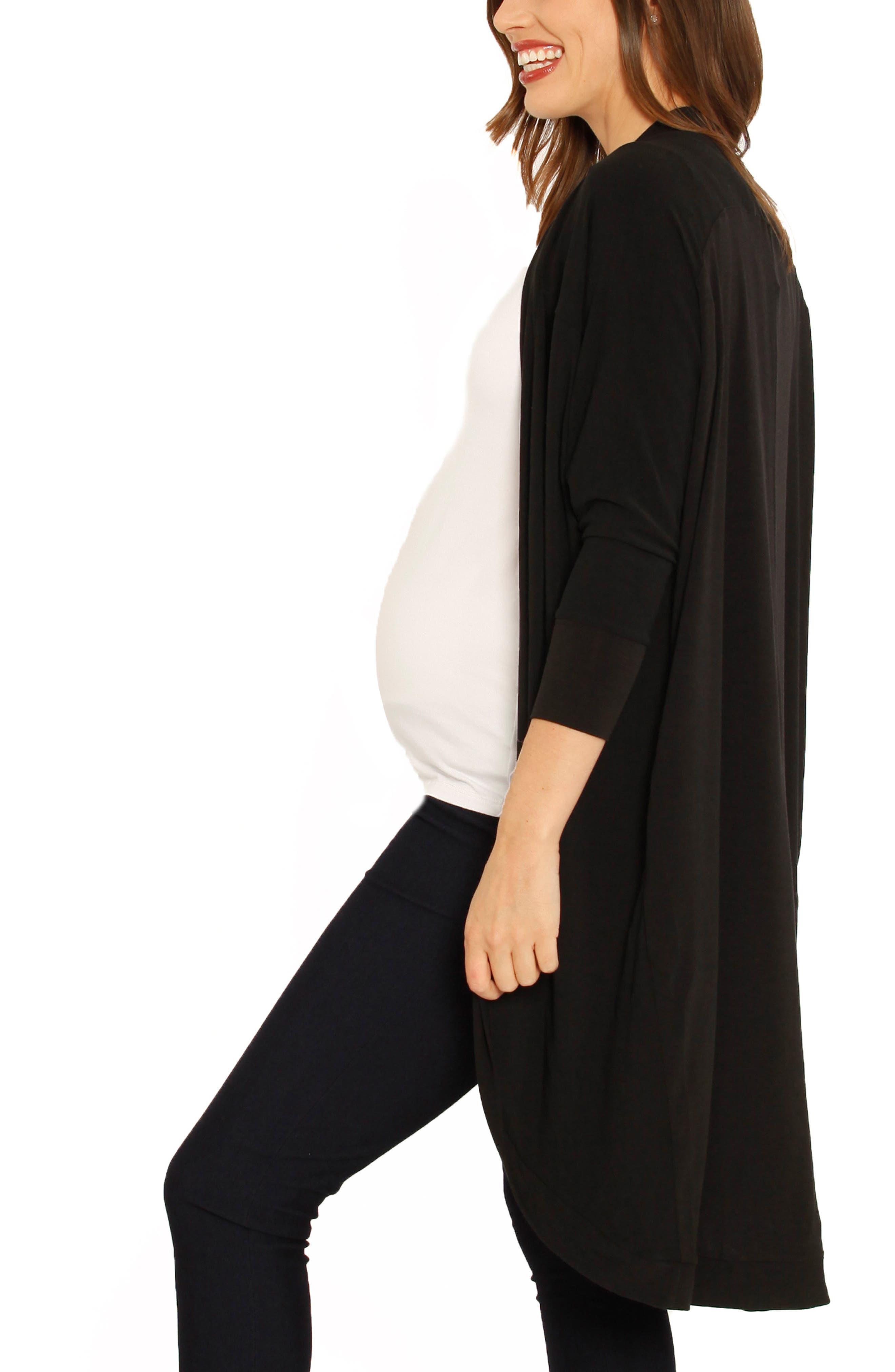 ANGEL MATERNITY,                             Scooped Maternity Cardigan,                             Alternate thumbnail 3, color,                             BLACK