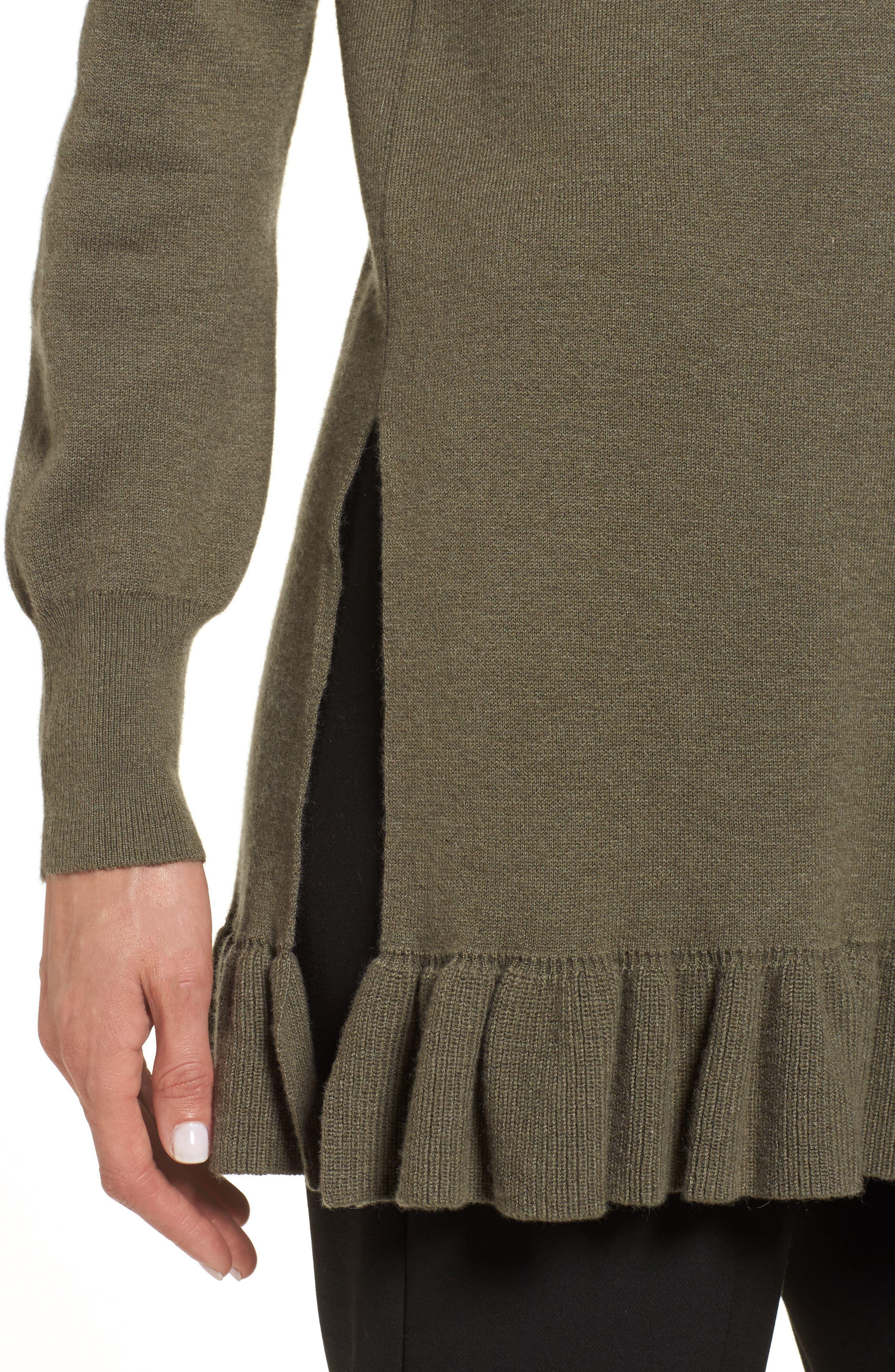 Ruffle Hem Cashmere Blend Tunic,                             Alternate thumbnail 4, color,                             315
