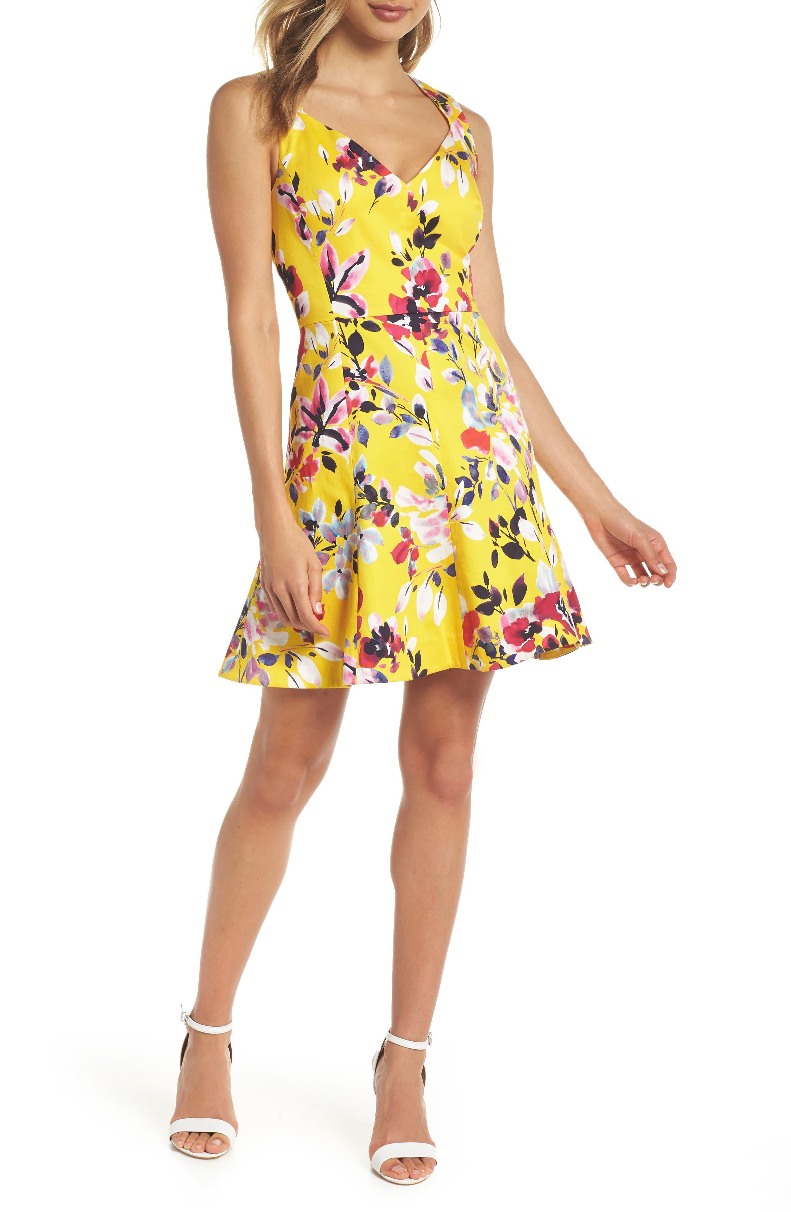 Linosa Fit & Flare Dress,                         Main,                         color, CITRUS