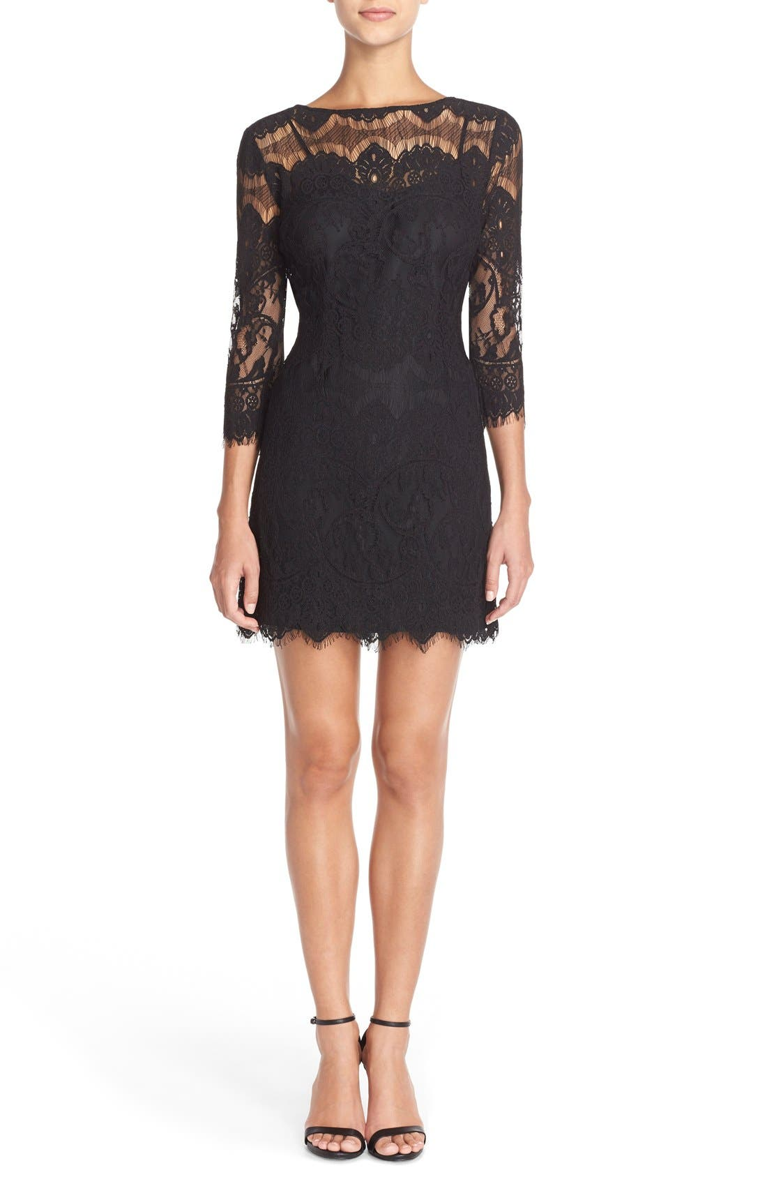 'Natalia' Lace Sheath Dress,                             Alternate thumbnail 6, color,                             001