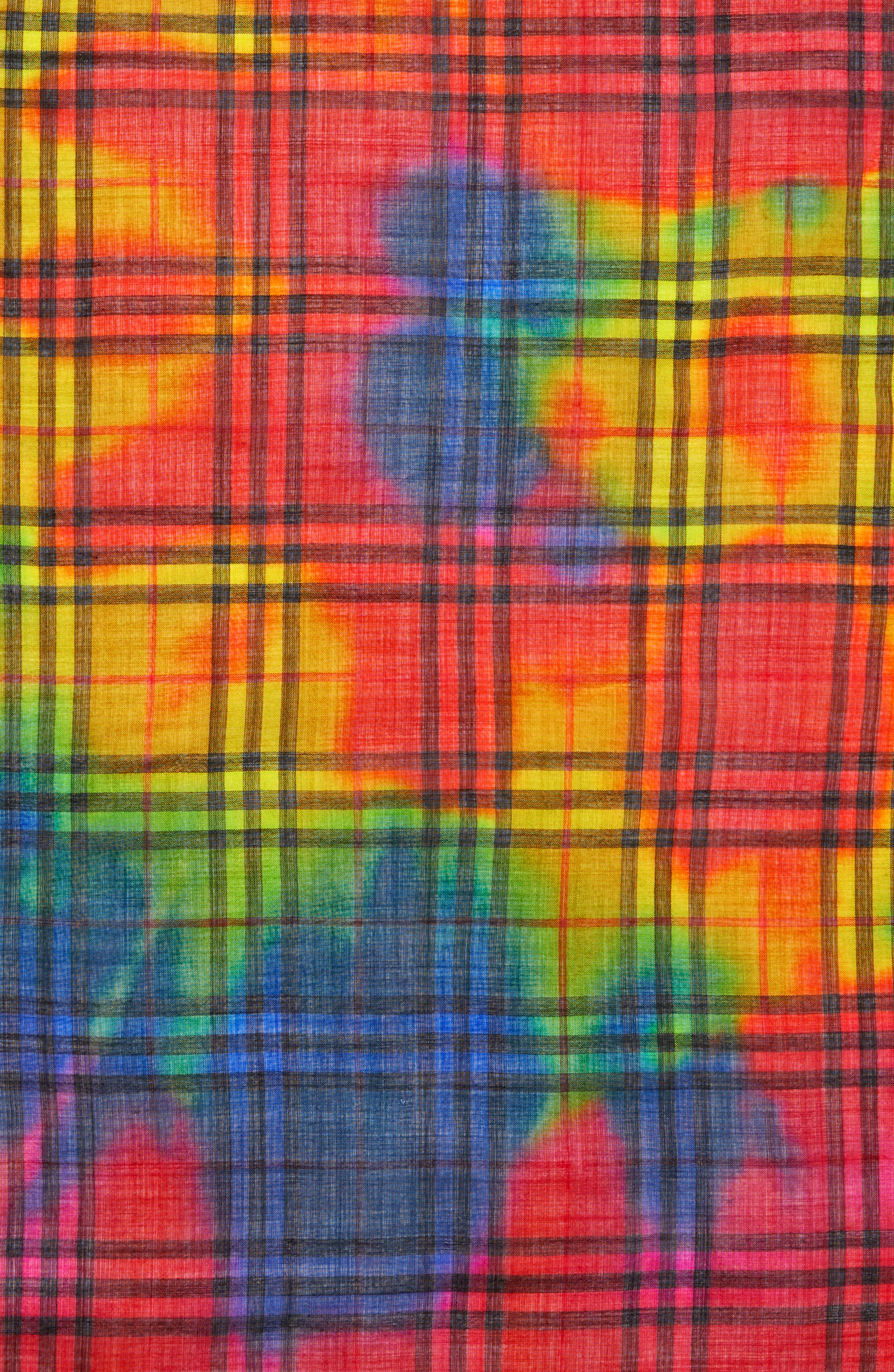 Rainbow Tie Dye Vintage Check Wool & Silk Scarf,                             Alternate thumbnail 4, color,                             600